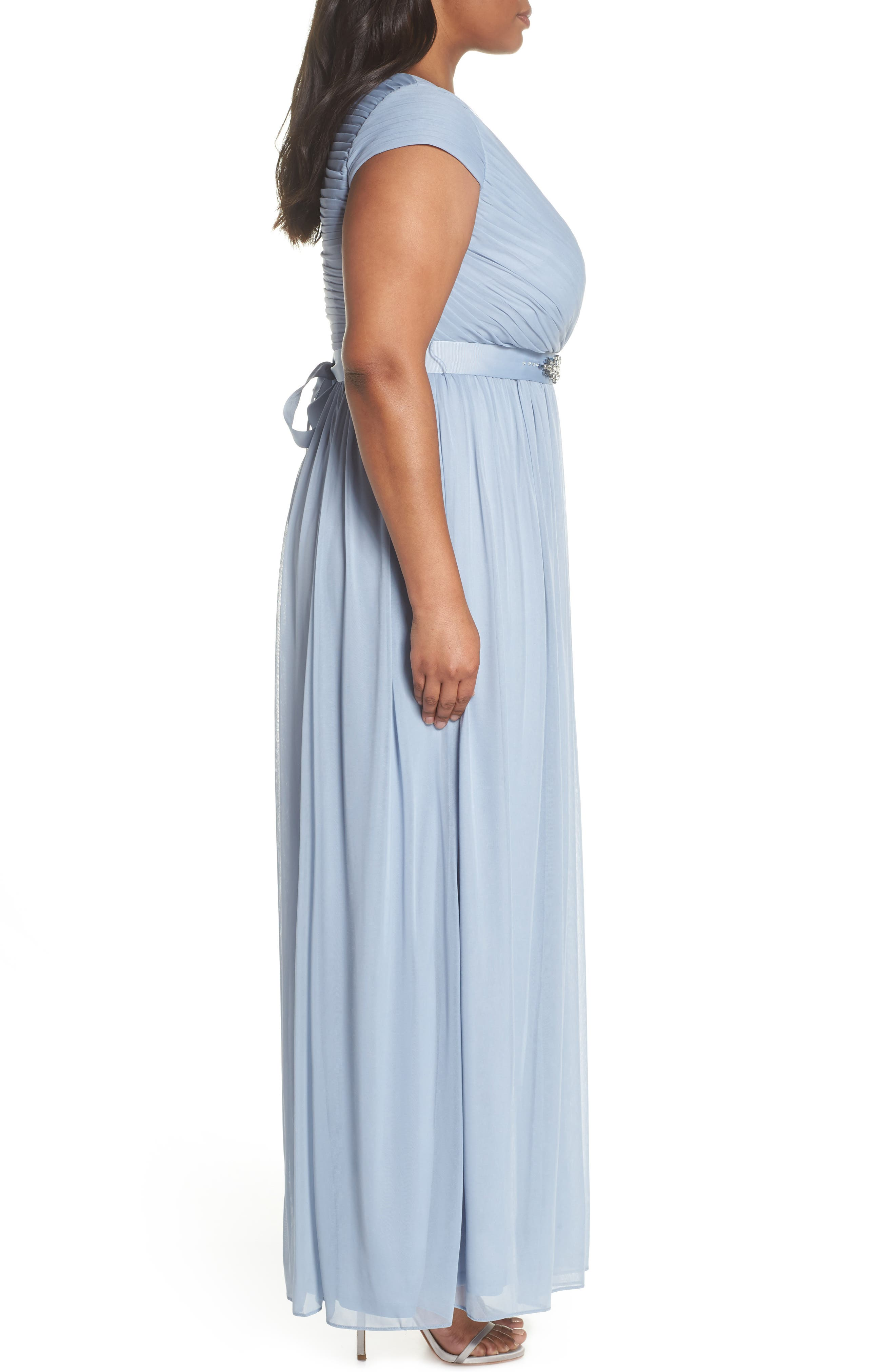 Tulle Gown,                             Alternate thumbnail 3, color,                             Dusty Periwinkle