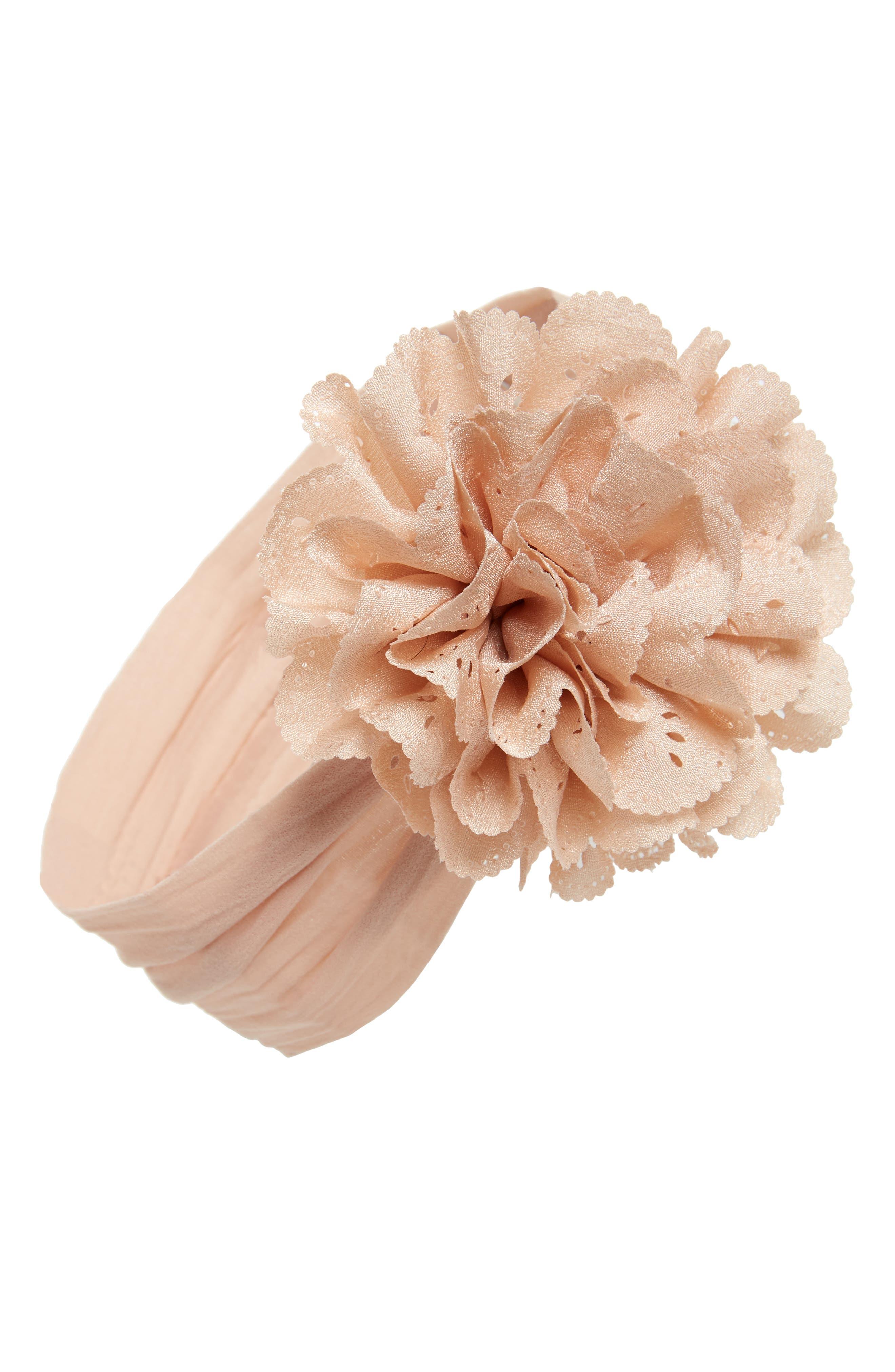 Eyelet Flower Head Wrap,                         Main,                         color, Blush