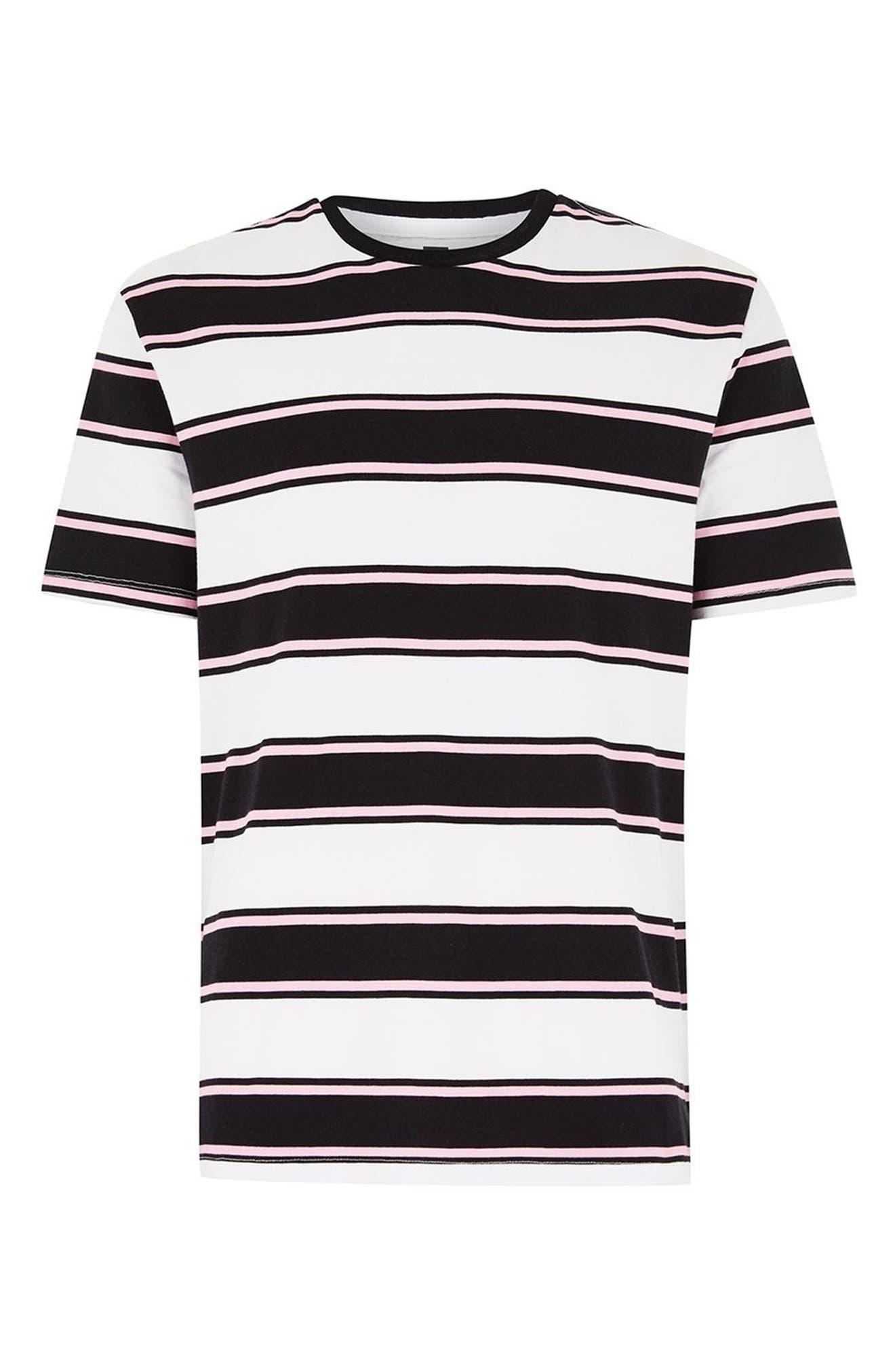 Stripe Crewneck T-Shirt,                             Alternate thumbnail 4, color,                             White Multi