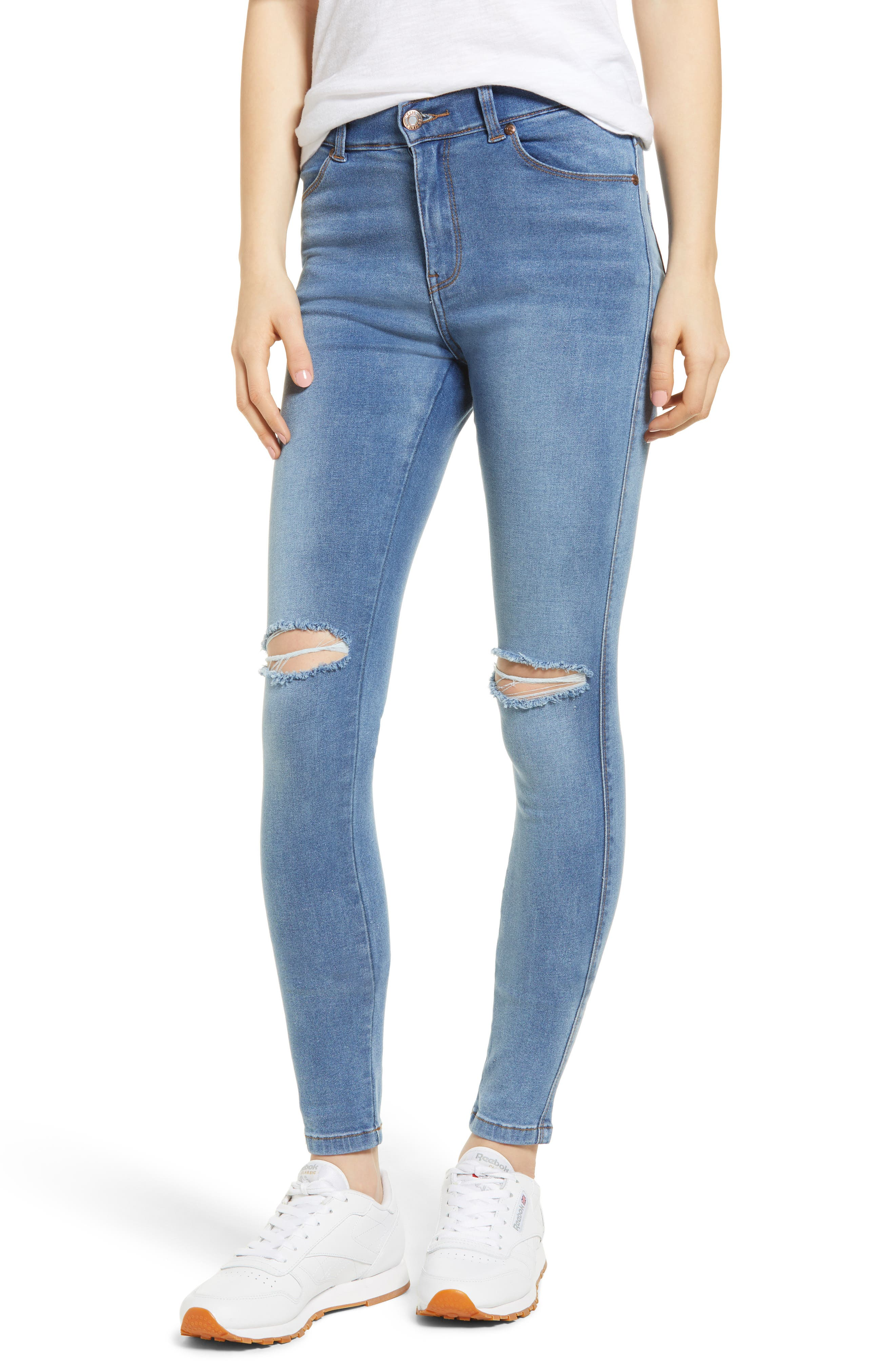 Lexy Ripped Skinny Jeans,                             Main thumbnail 1, color,                             Light Stone Destroyed