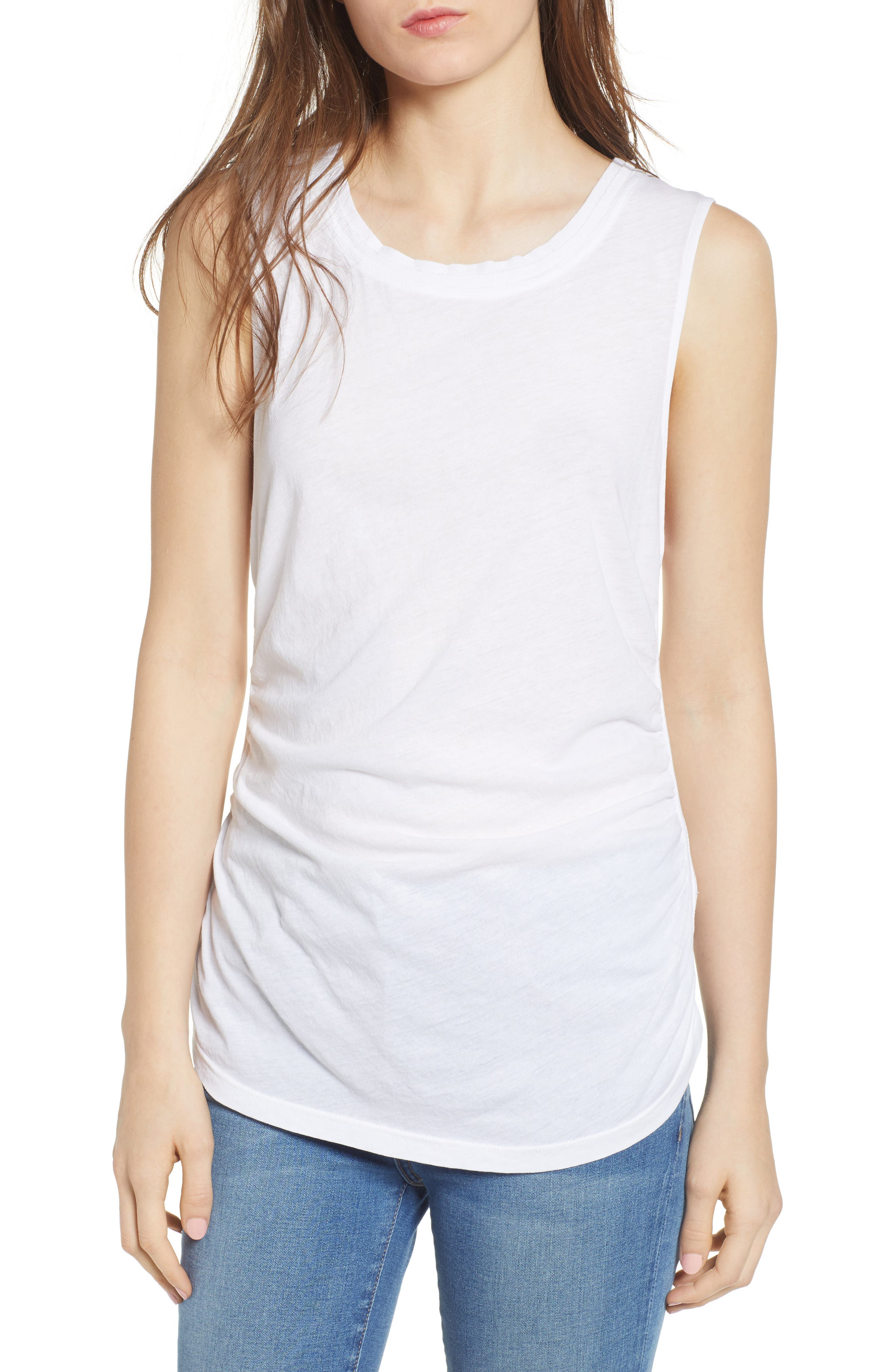 Ruched Supima<sup>®</sup> Cotton Tank,                             Main thumbnail 1, color,                             Paper