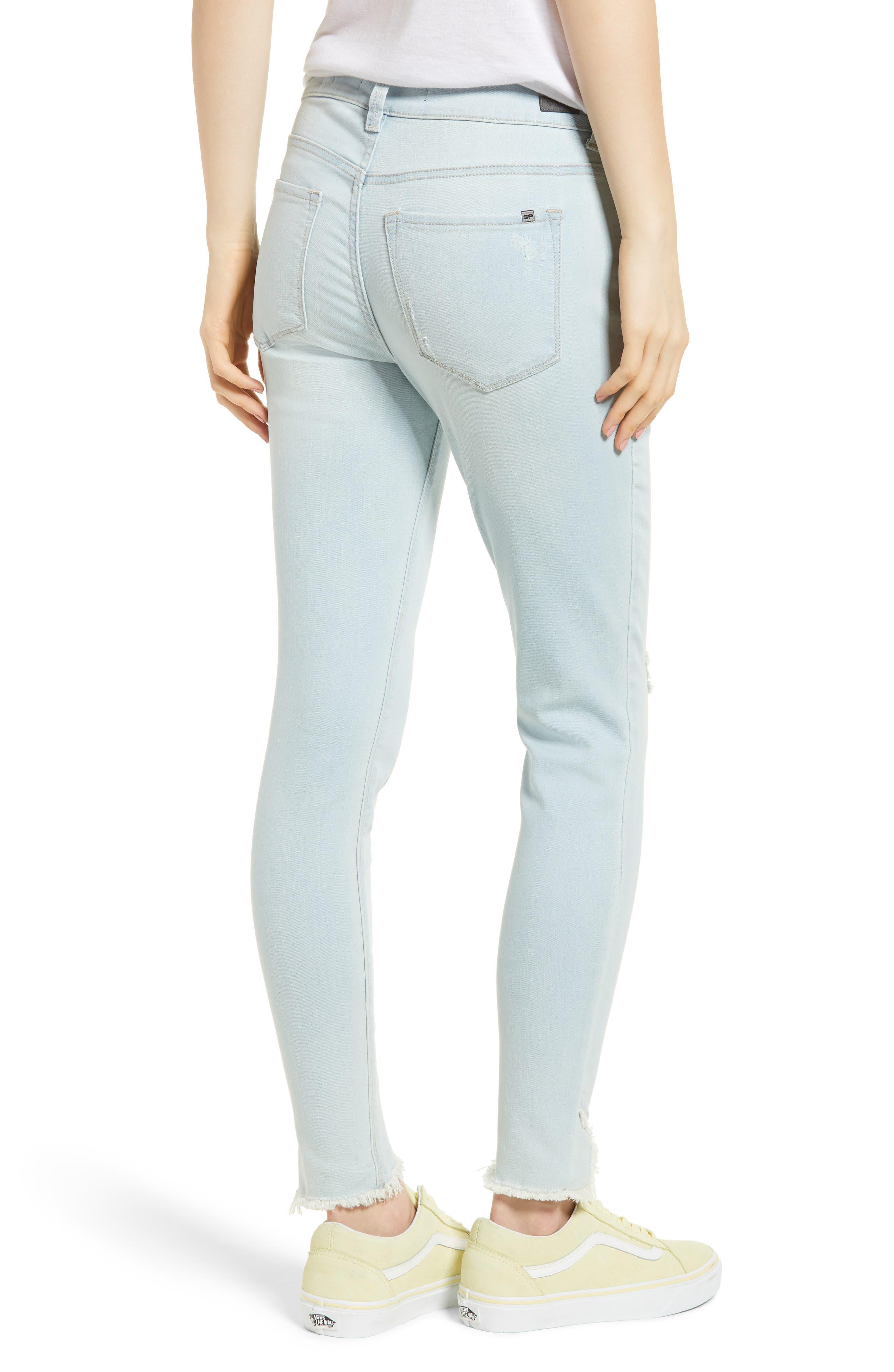 Distressed Asymmetrical Hem Skinny Jeans,                             Alternate thumbnail 2, color,                             Light Wash