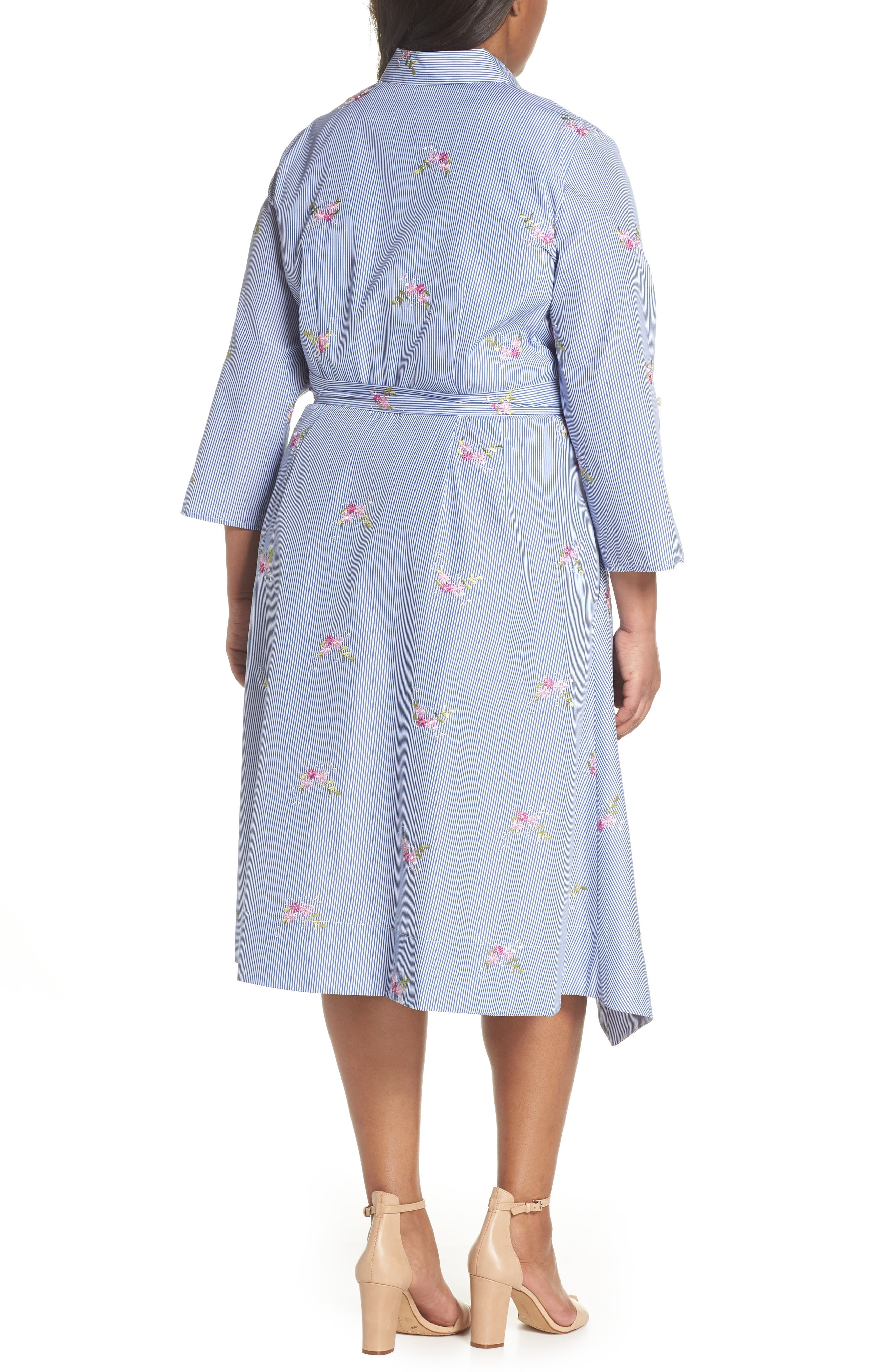 Embroidered Stripe Shirtdress,                             Alternate thumbnail 2, color,                             Navy/ White/ Pink