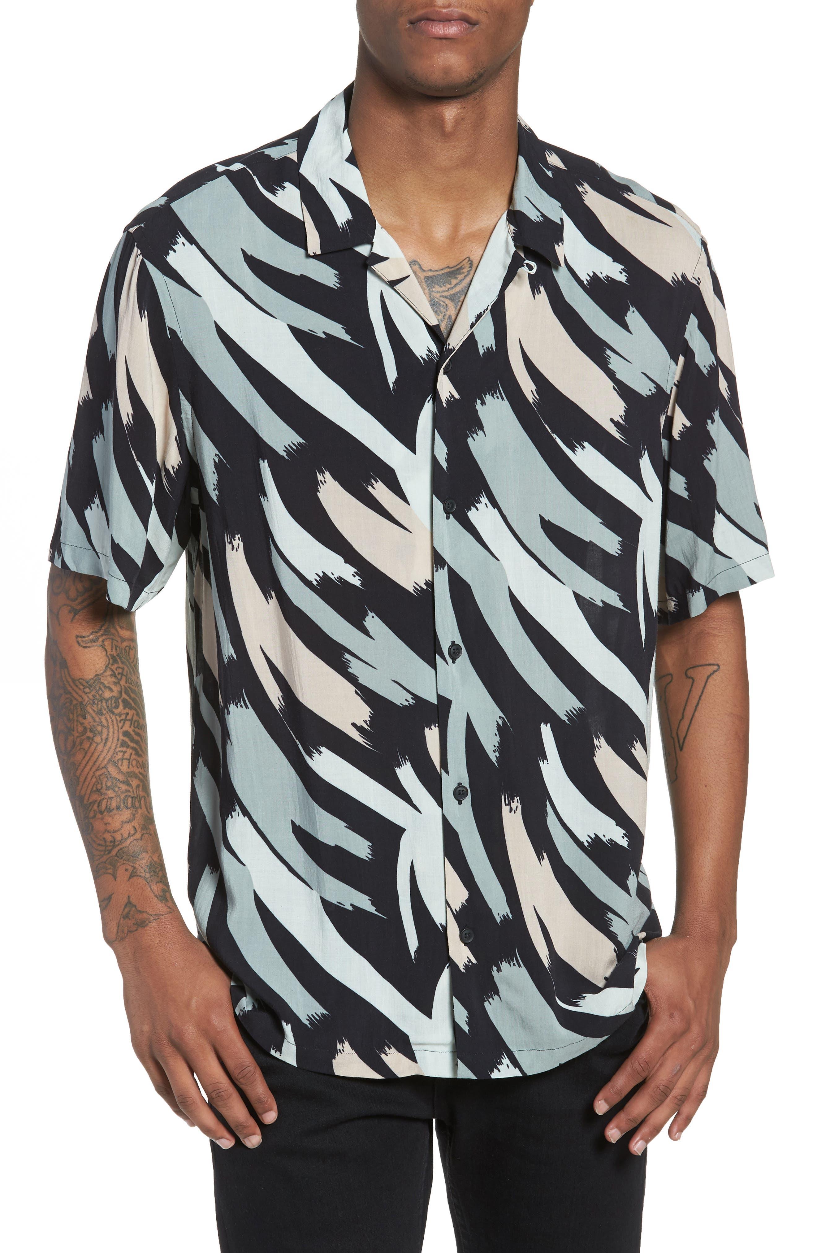 Rope Slim Fit Short Sleeve Sport Shirt,                             Main thumbnail 1, color,                             Black Camo