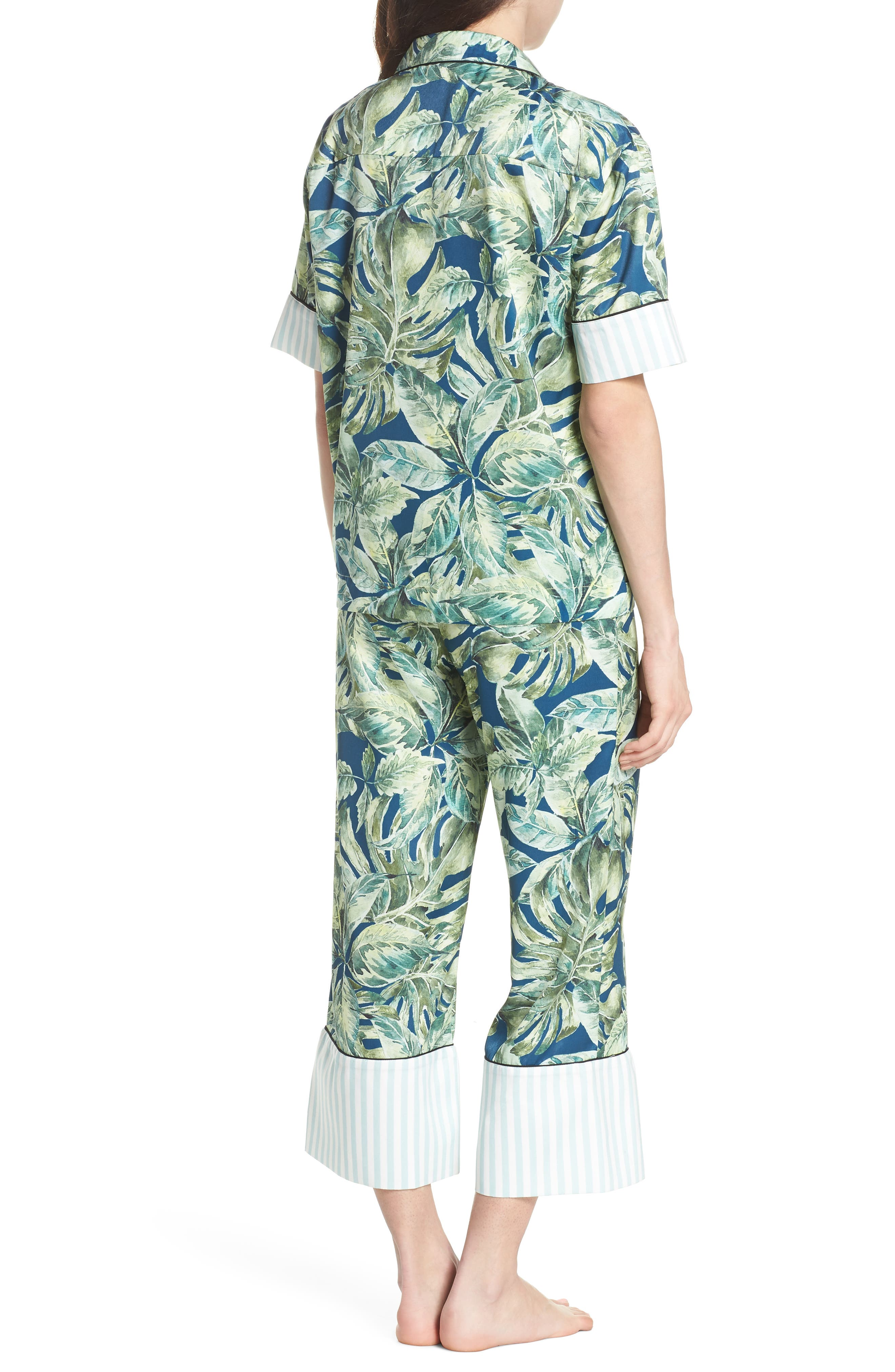 Cropped Pajamas,                             Alternate thumbnail 2, color,                             Pacific Palm