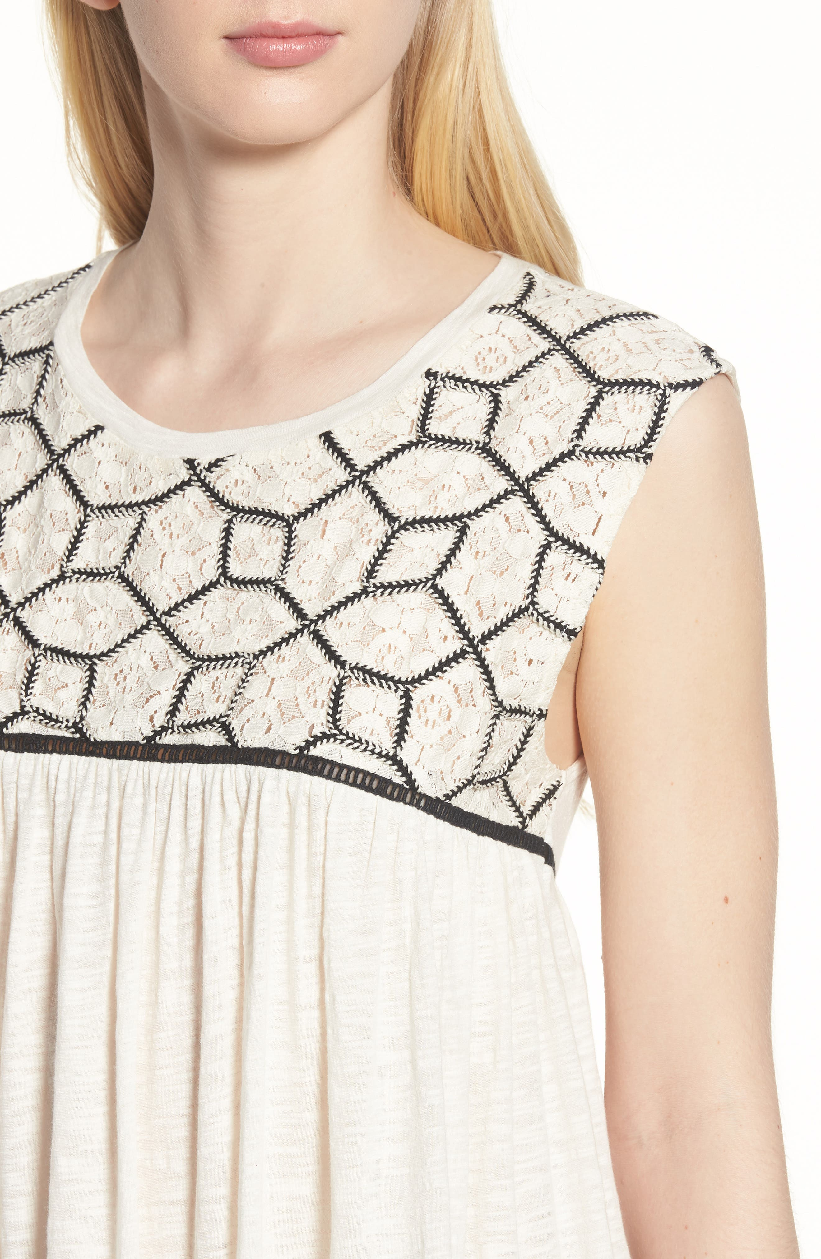 Mix Lace Knit Tank,                             Alternate thumbnail 4, color,                             Ivory- Black