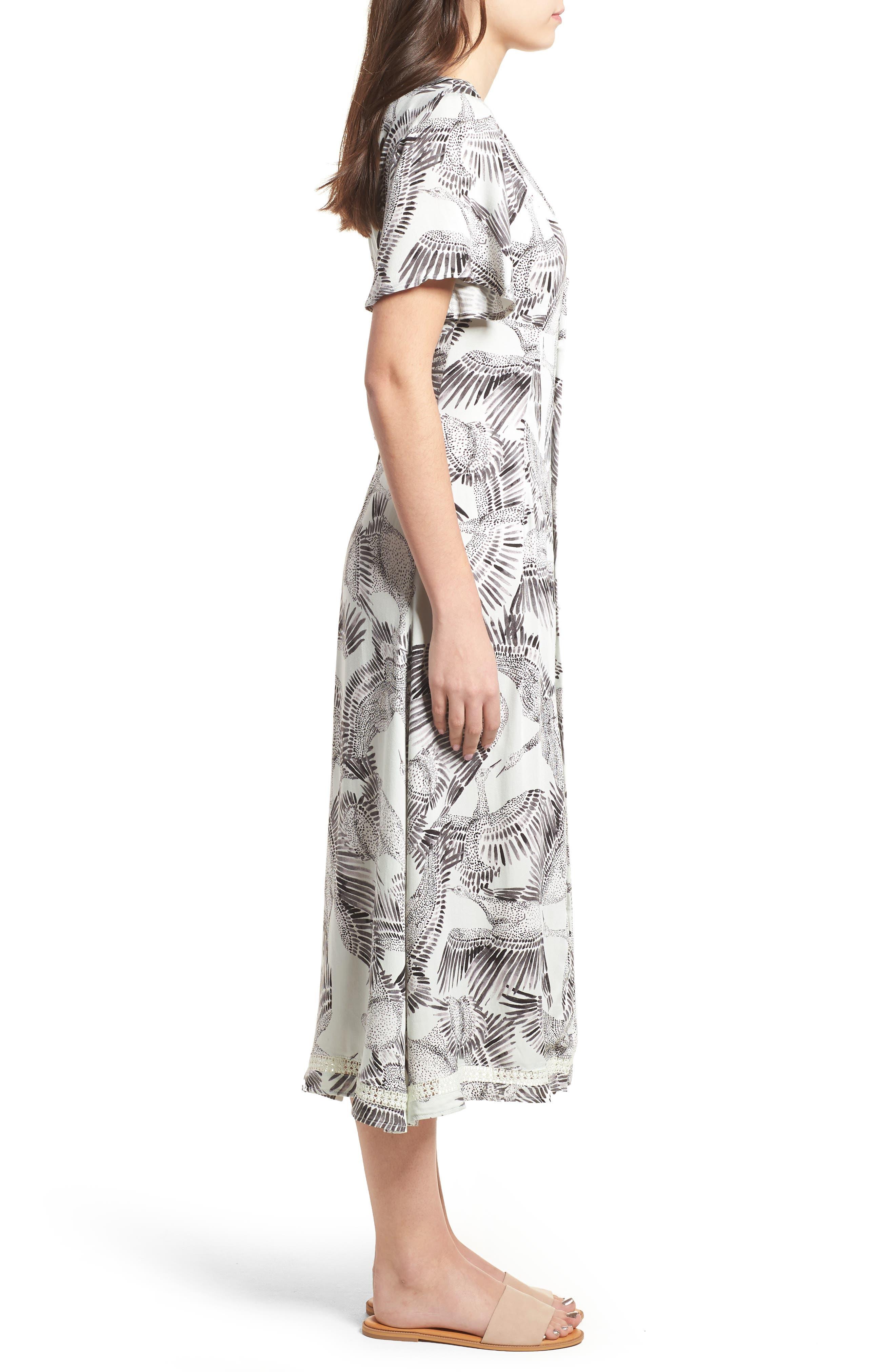 Taking Flight Midi Dress,                             Alternate thumbnail 4, color,                             Multi Grey