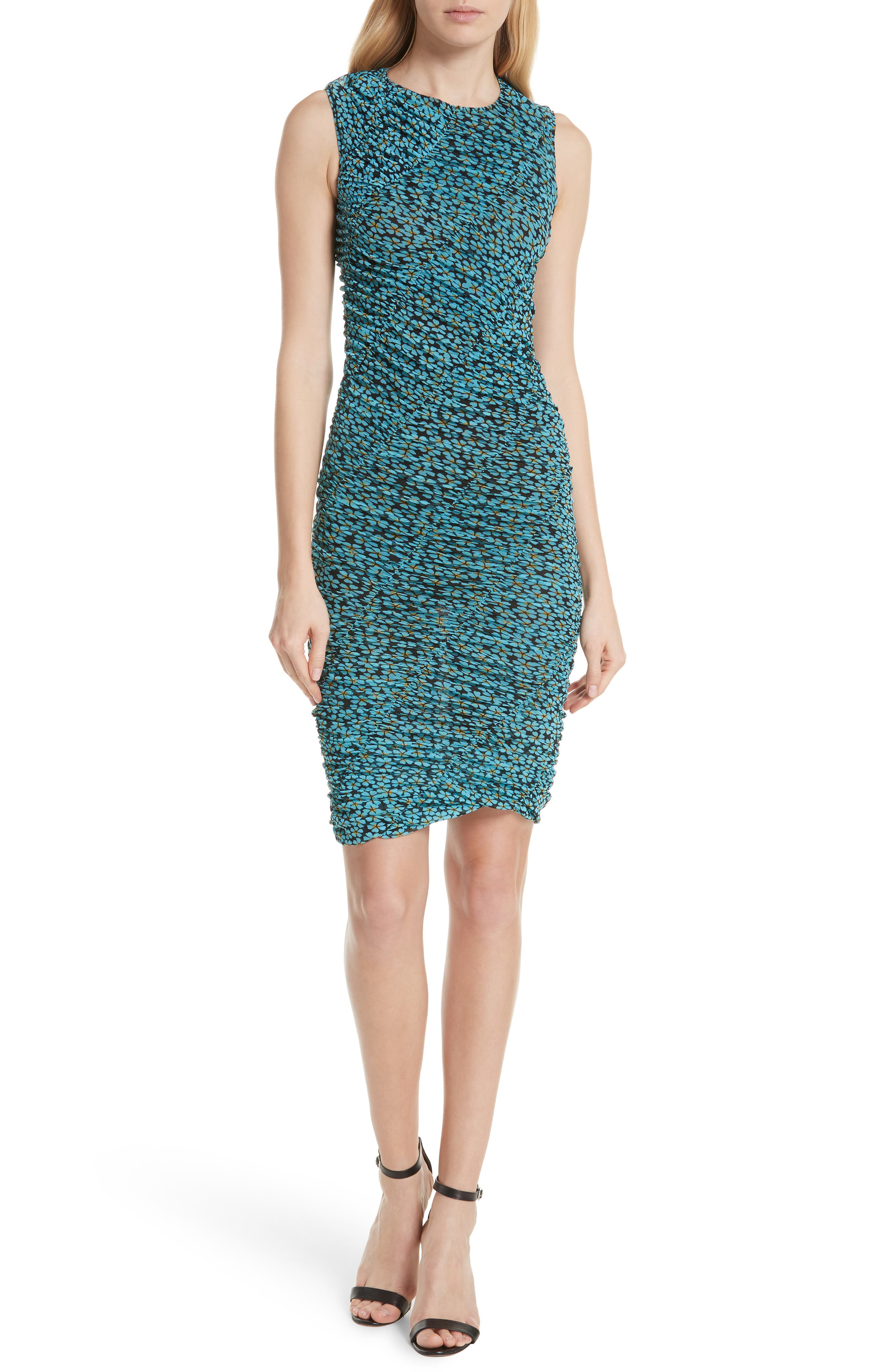 DVF Bias Mesh Overlay Body-Con Dress