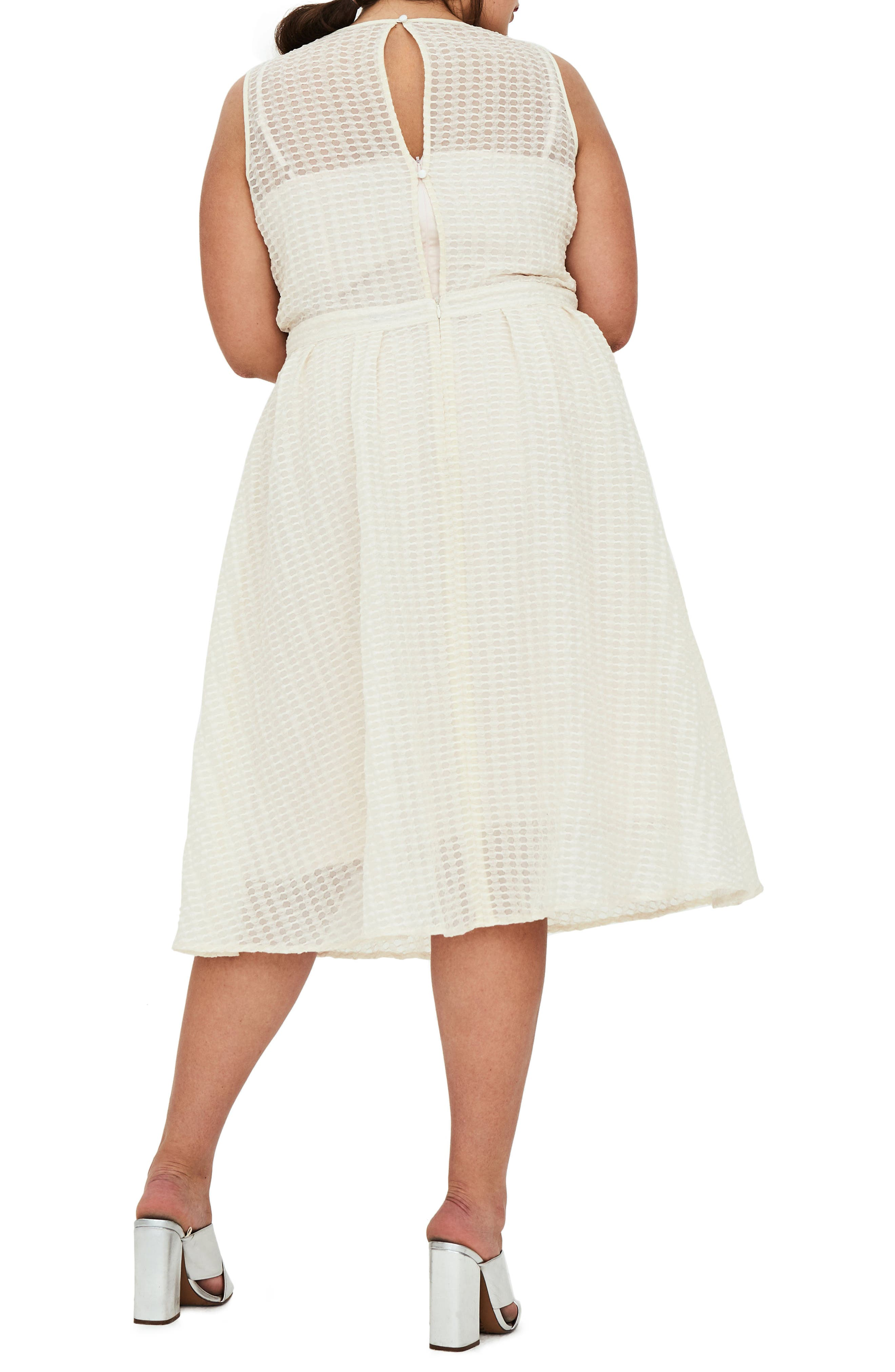 The Evelyn Textured Midi Dress,                             Alternate thumbnail 2, color,                             Cream