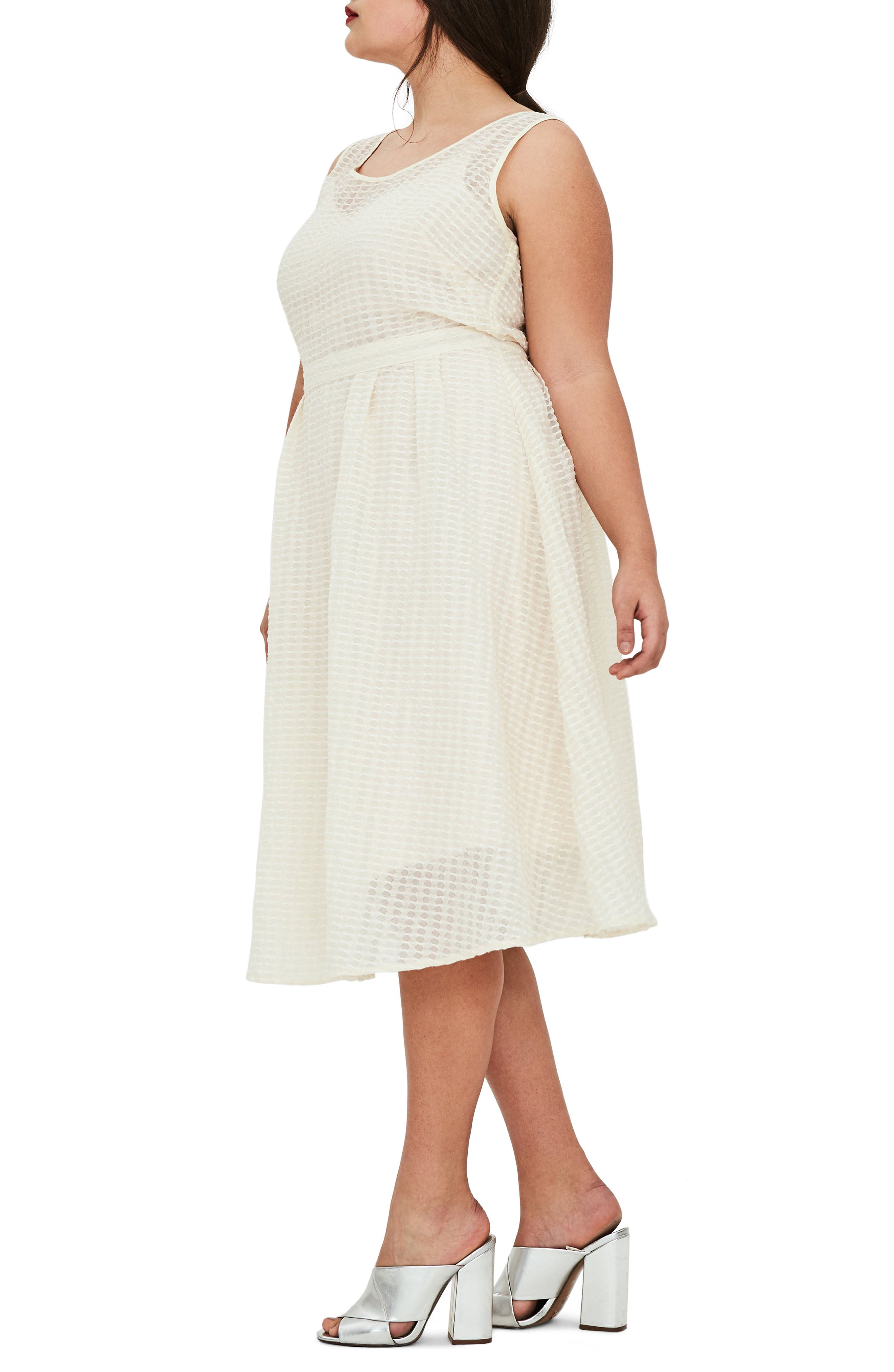 The Evelyn Textured Midi Dress,                             Alternate thumbnail 3, color,                             Cream