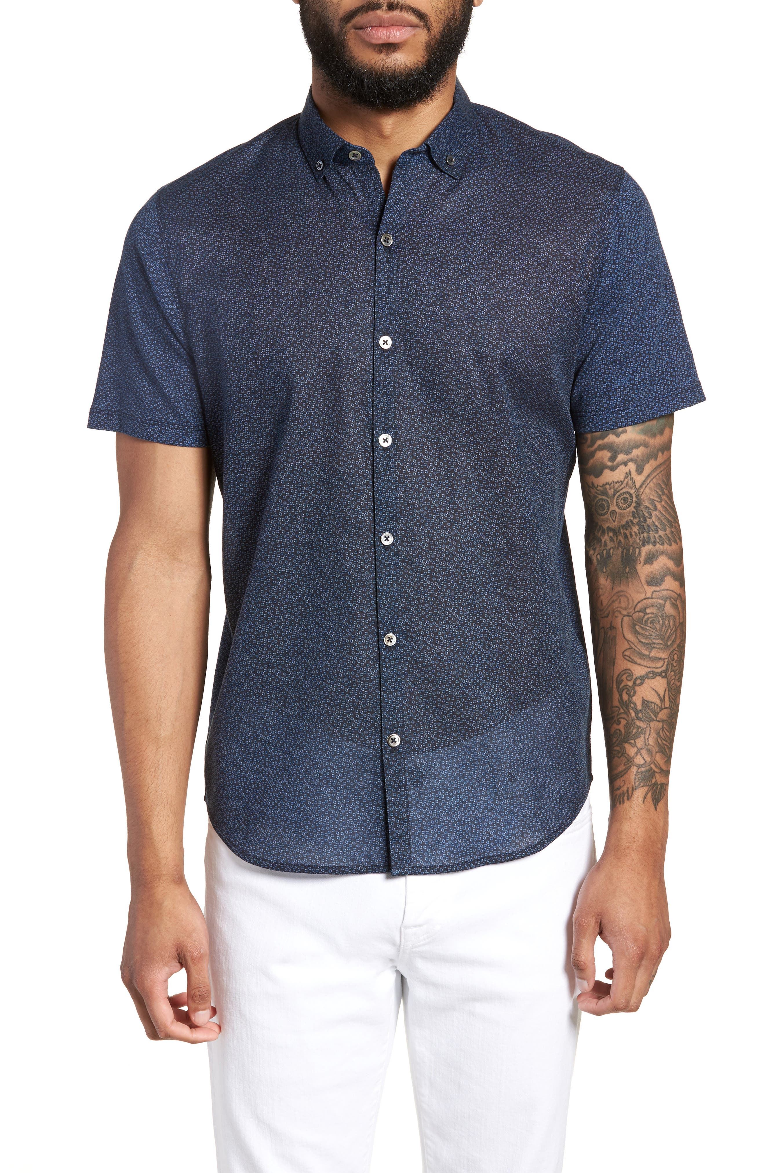 Clyde Slim Fit Sport Shirt,                         Main,                         color, Navy