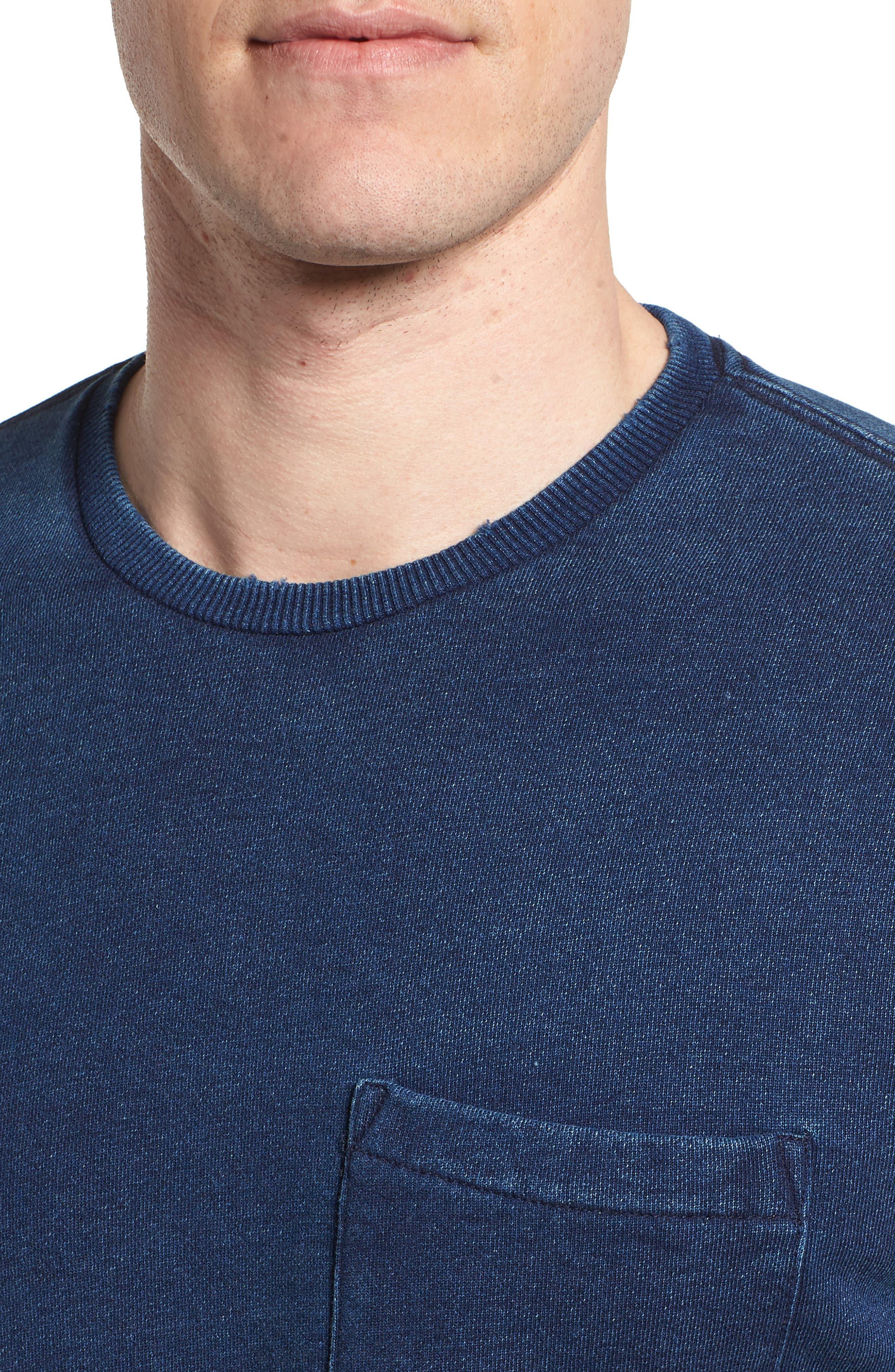 Byron Crewneck Cotton Pocket Sweatshirt,                             Alternate thumbnail 4, color,                             Harbor