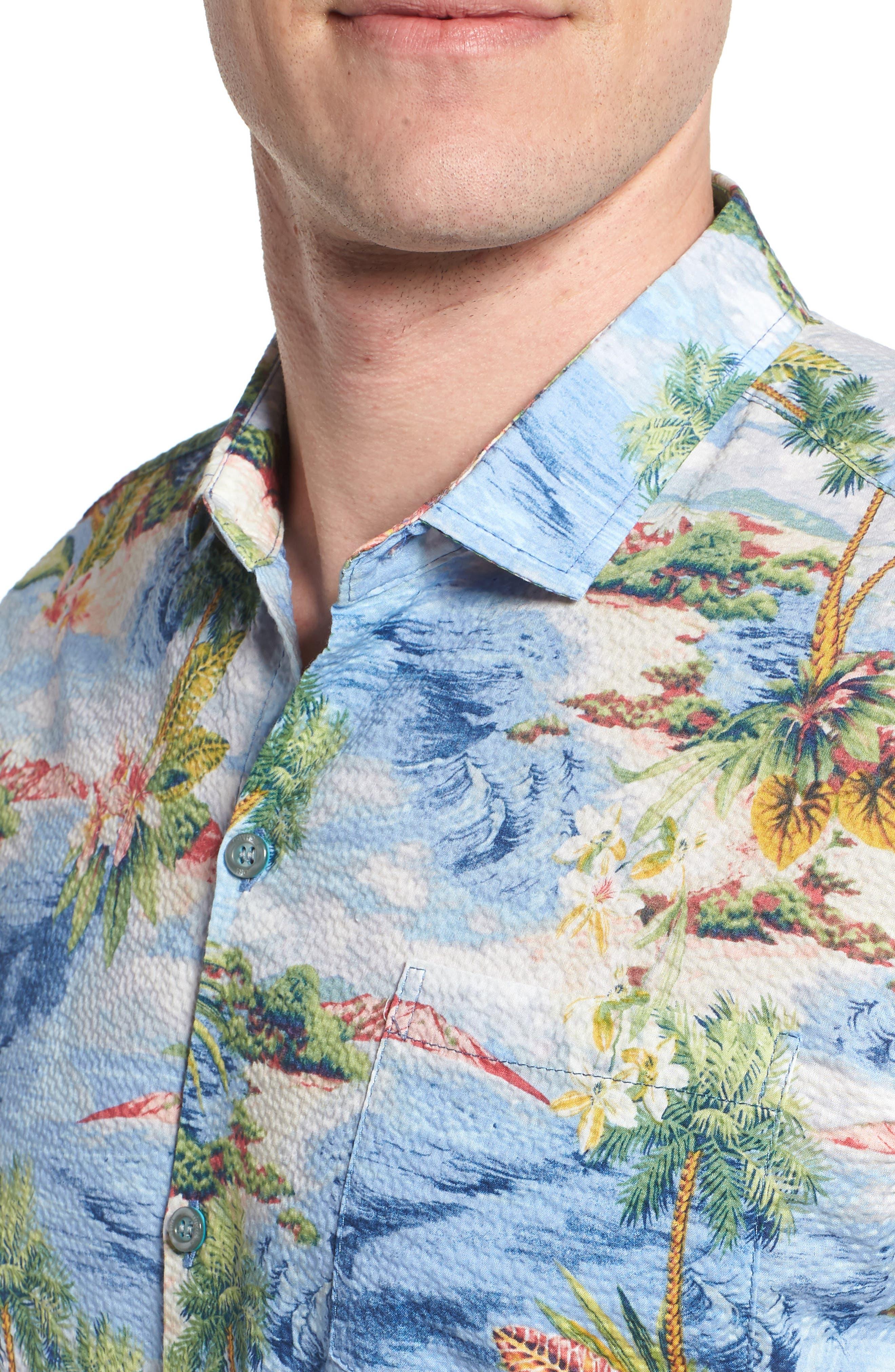 Private Isle Trim Fit Camp Shirt,                             Alternate thumbnail 2, color,                             Wave
