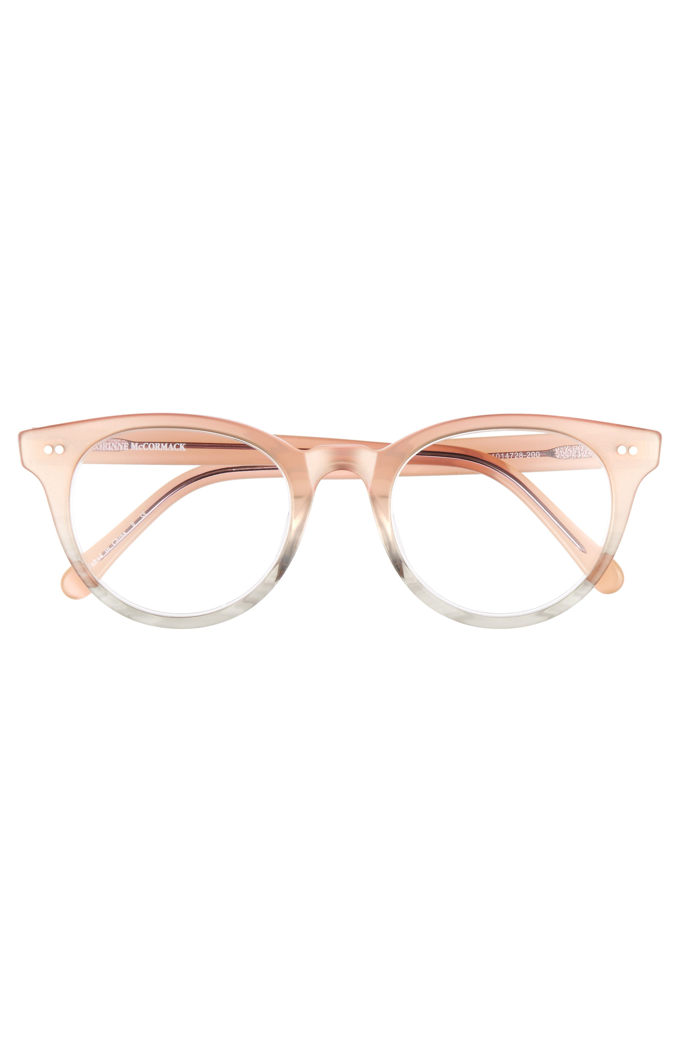 Abby 50mm Reading Glasses,                             Alternate thumbnail 3, color,                             Pink/ Grey