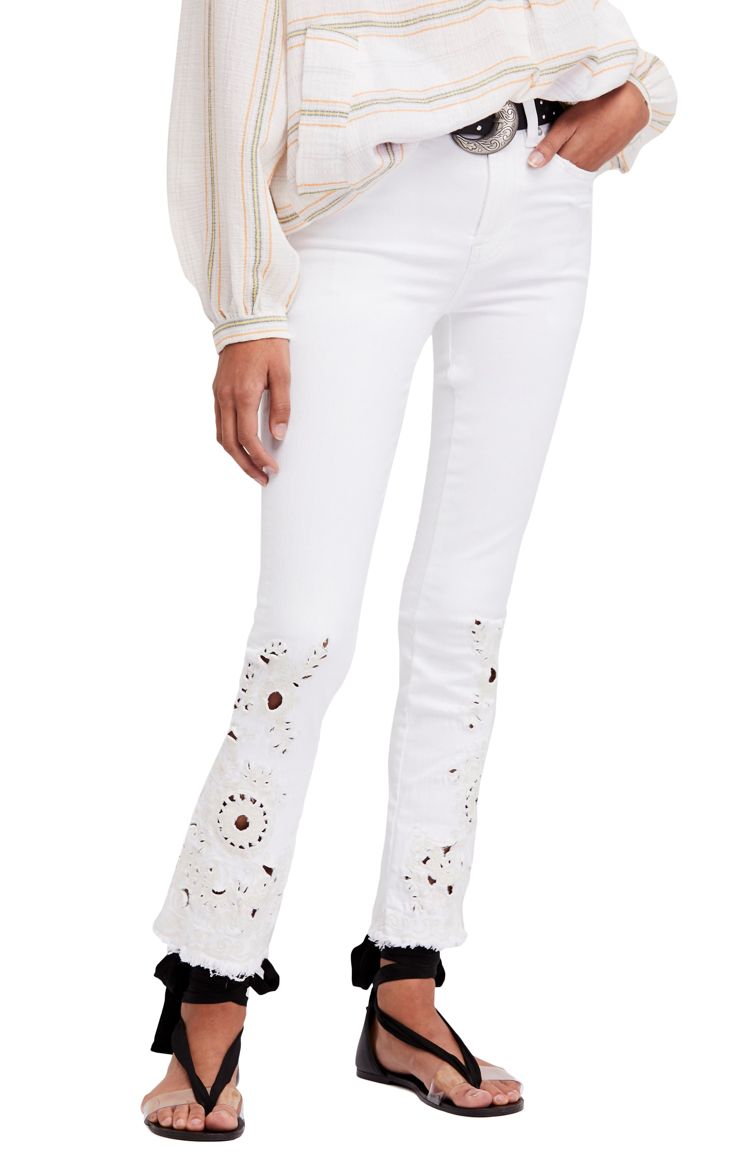Cutwork Cigarette Jeans,                             Main thumbnail 1, color,                             Ivory