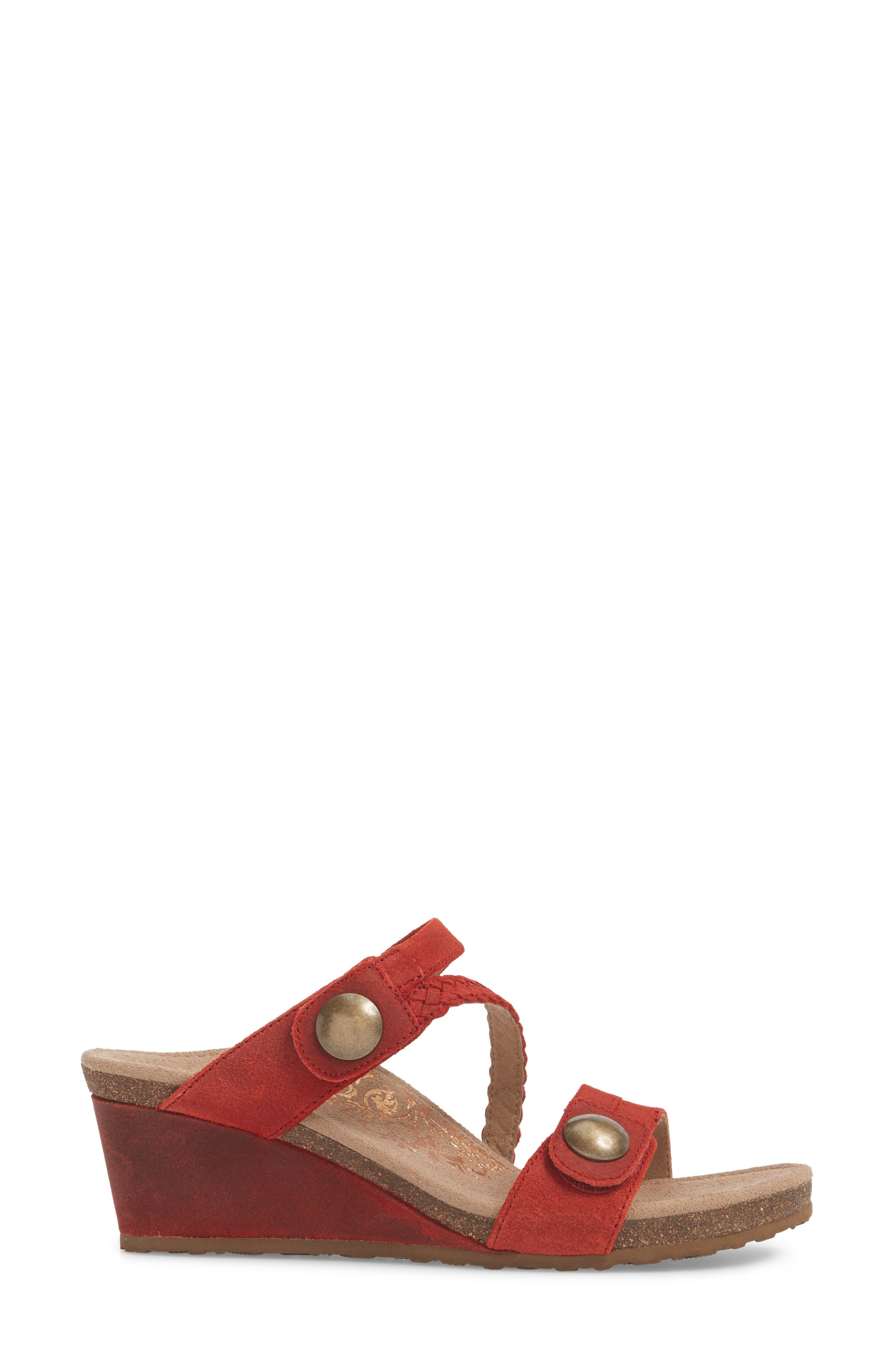 Lydia Strappy Wedge Sandal,                             Alternate thumbnail 3, color,                             Cayenne Leather