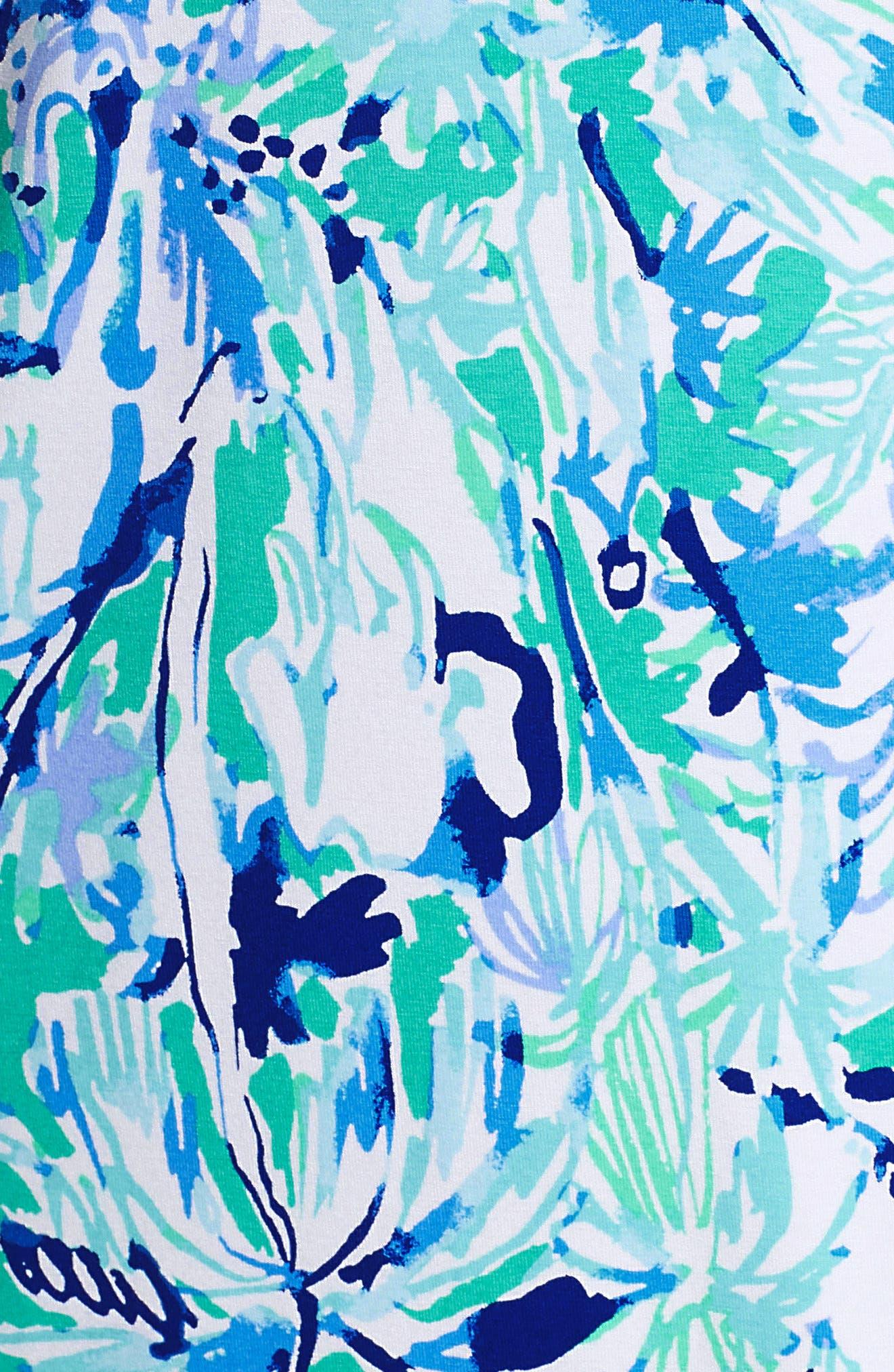 Lula Ruffle Sleeve Dress,                             Alternate thumbnail 6, color,                             Tropical Turquoise Elephant