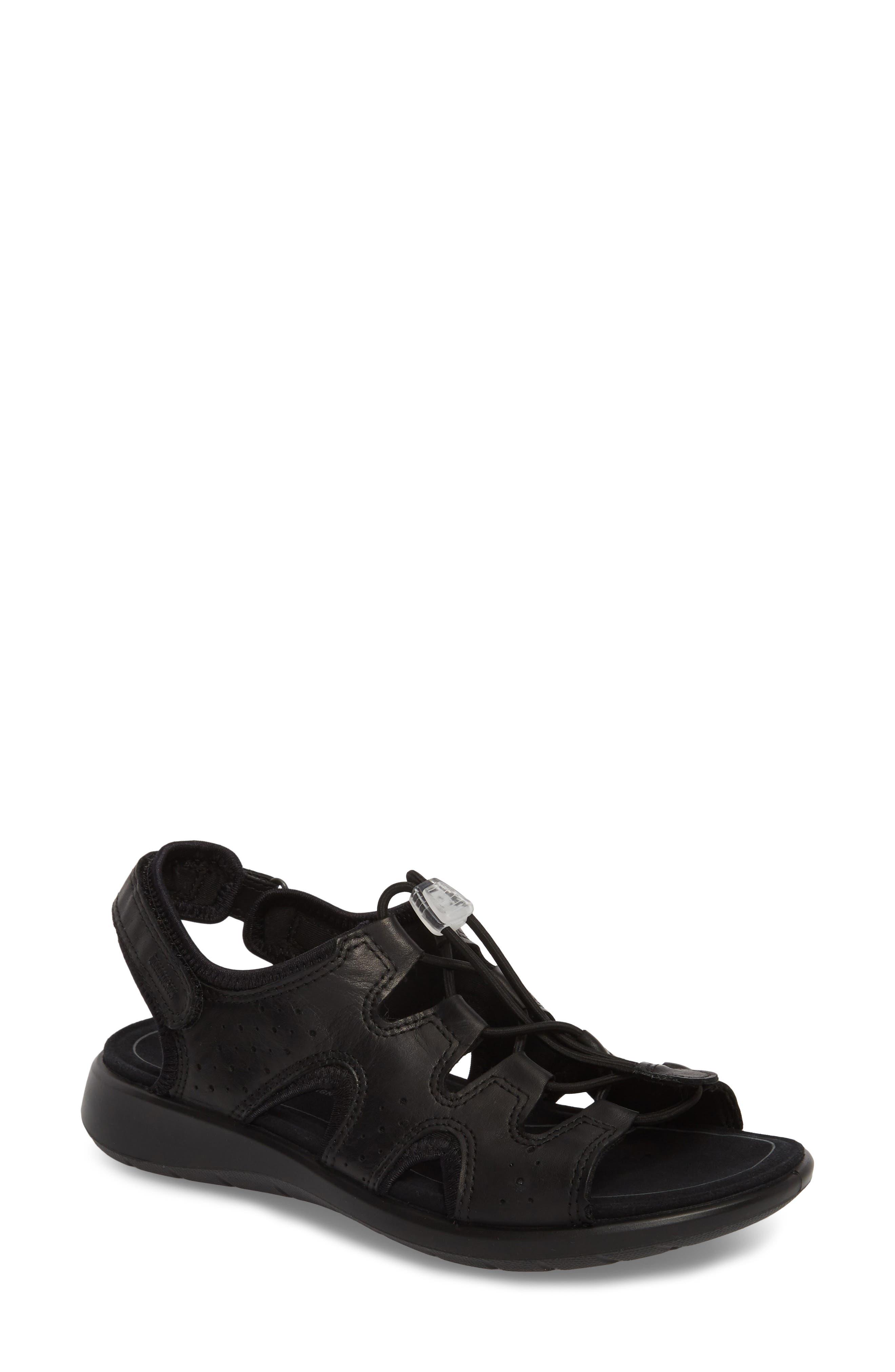 Bluma Toggle Sandal,                         Main,                         color, Black Leather