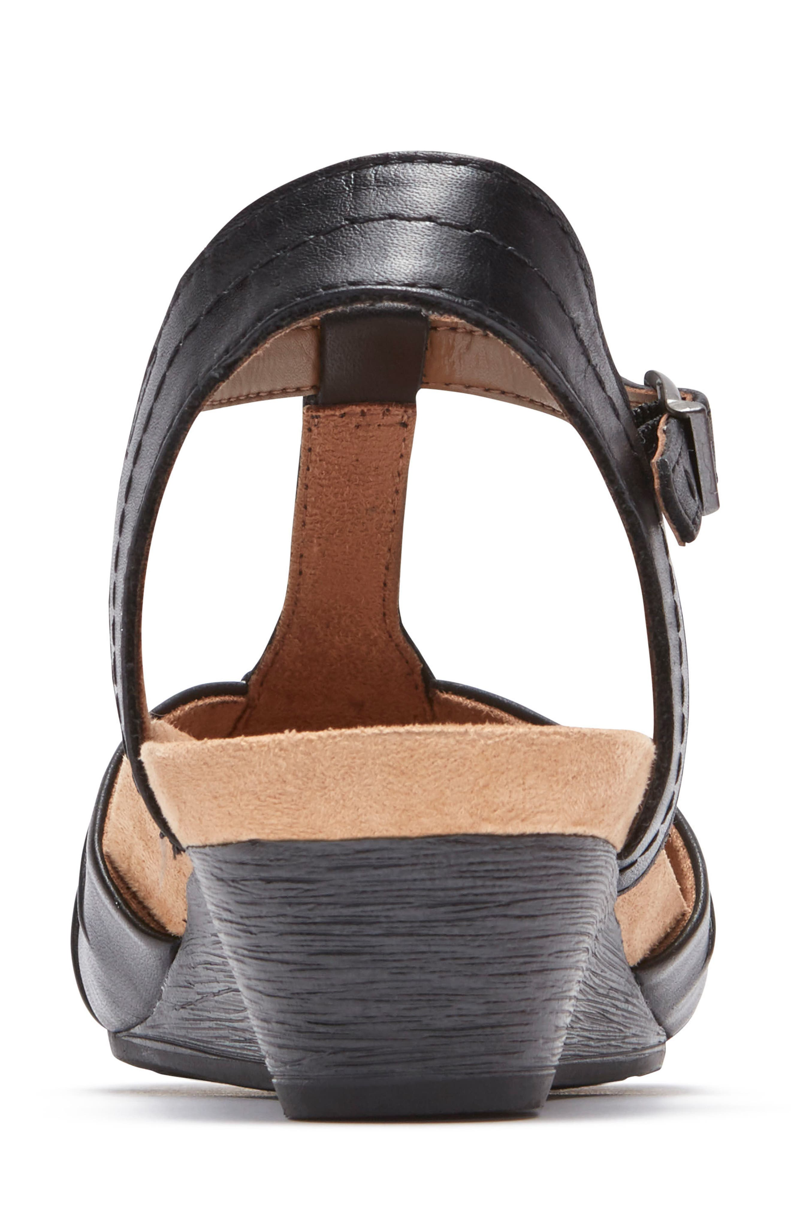 Hollywood Pleat Wedge Sandal,                             Alternate thumbnail 7, color,                             Black Leather