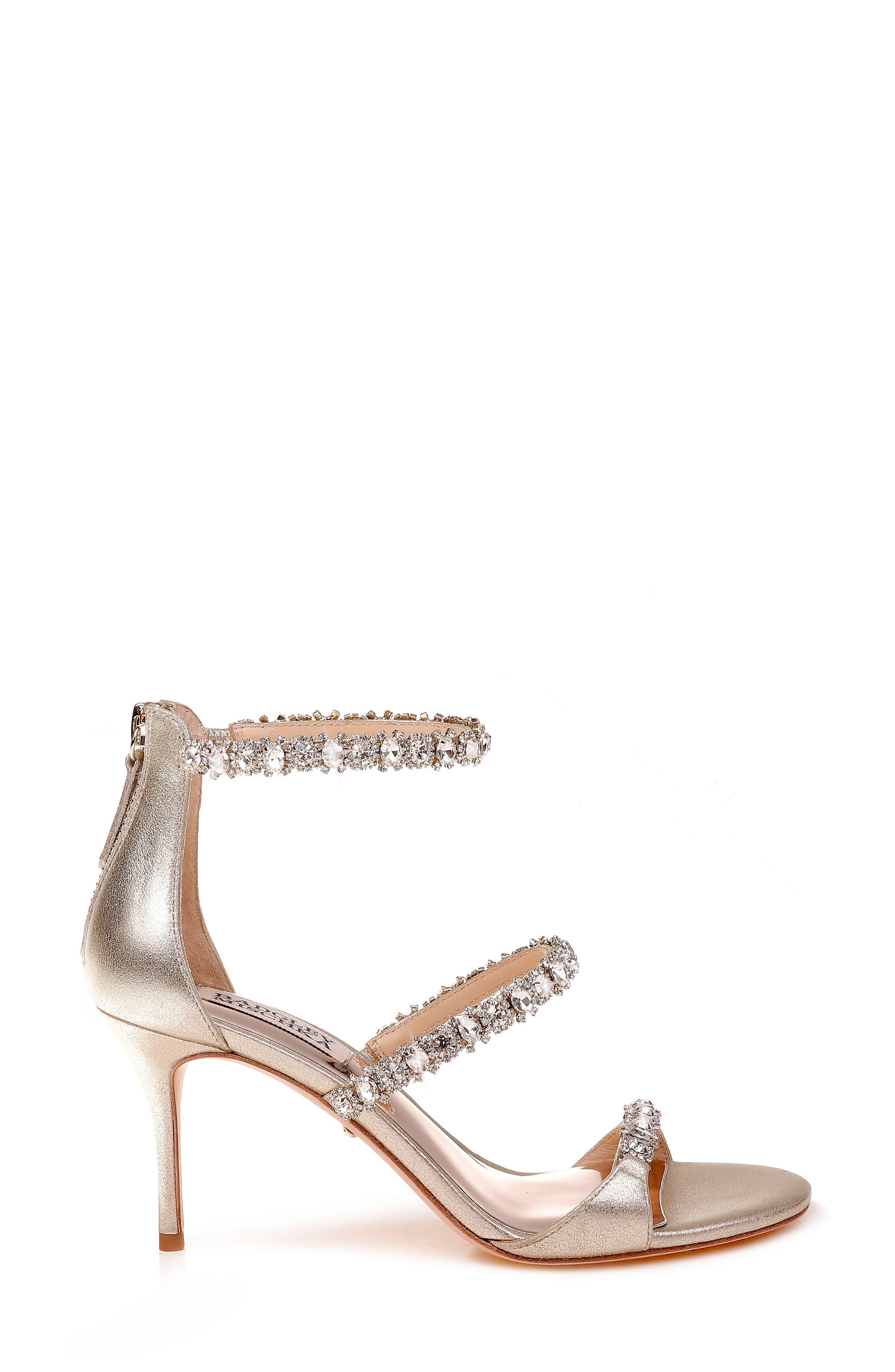 Yasmine Crystal Embellished Sandal,                             Alternate thumbnail 3, color,                             Latte Satin
