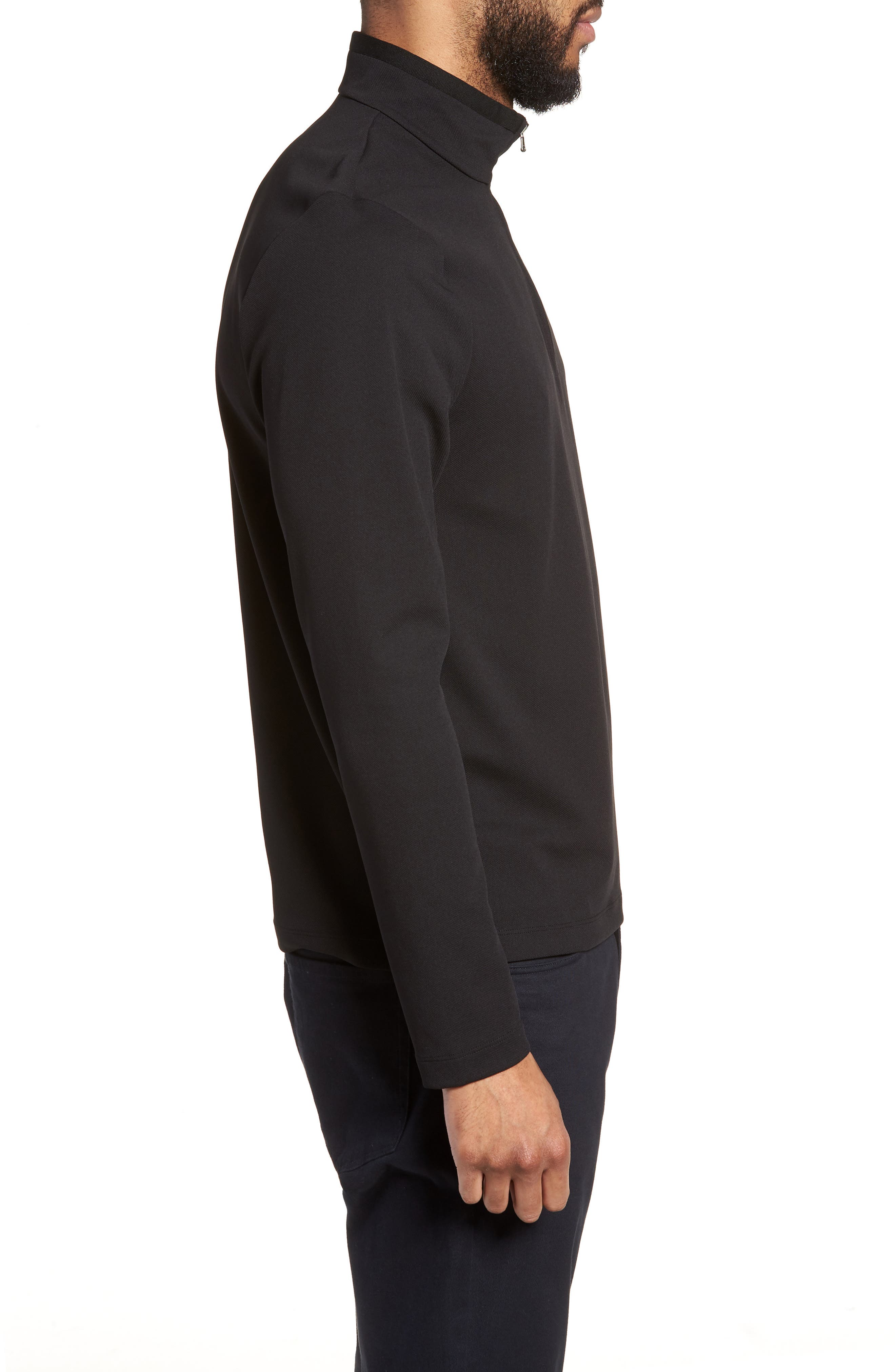 Performance Quarter Zip Pullover,                             Alternate thumbnail 3, color,                             Black/ Black