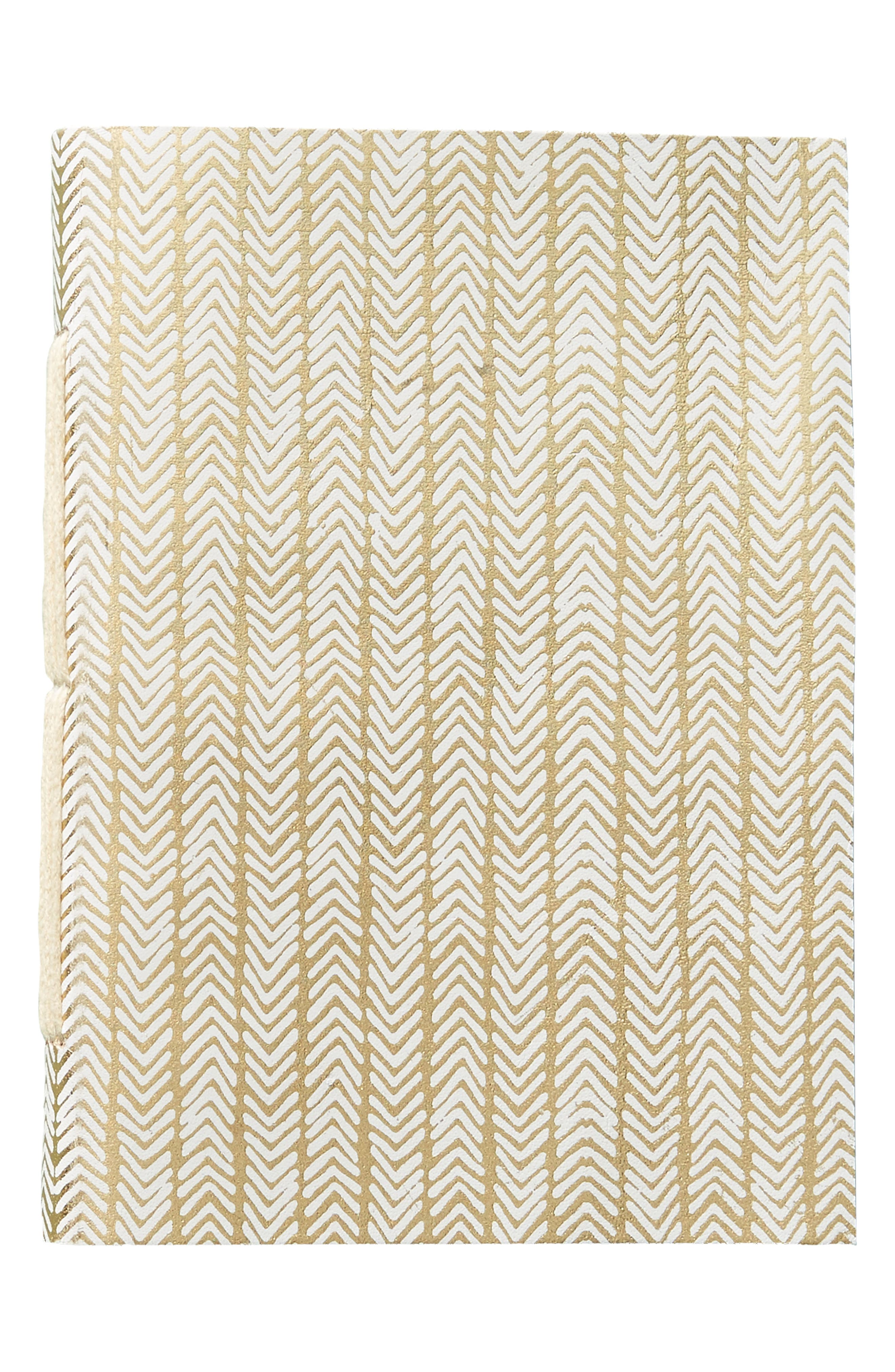 Gilded Leather Journal,                             Alternate thumbnail 5, color,                             White/ Gold - Small