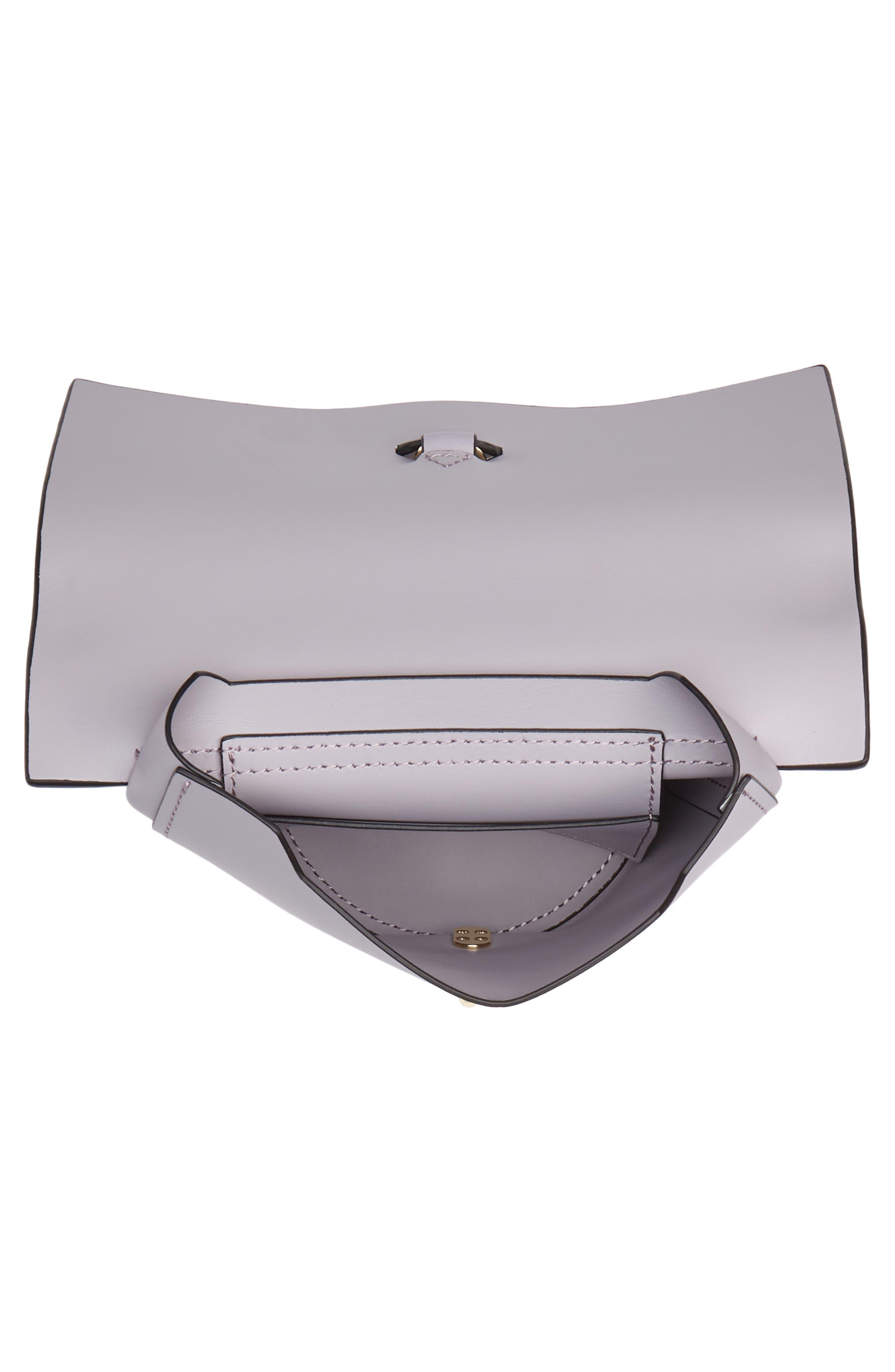 Belay Chain Calfskin Leather Crossbody Bag,                             Alternate thumbnail 4, color,                             Violet