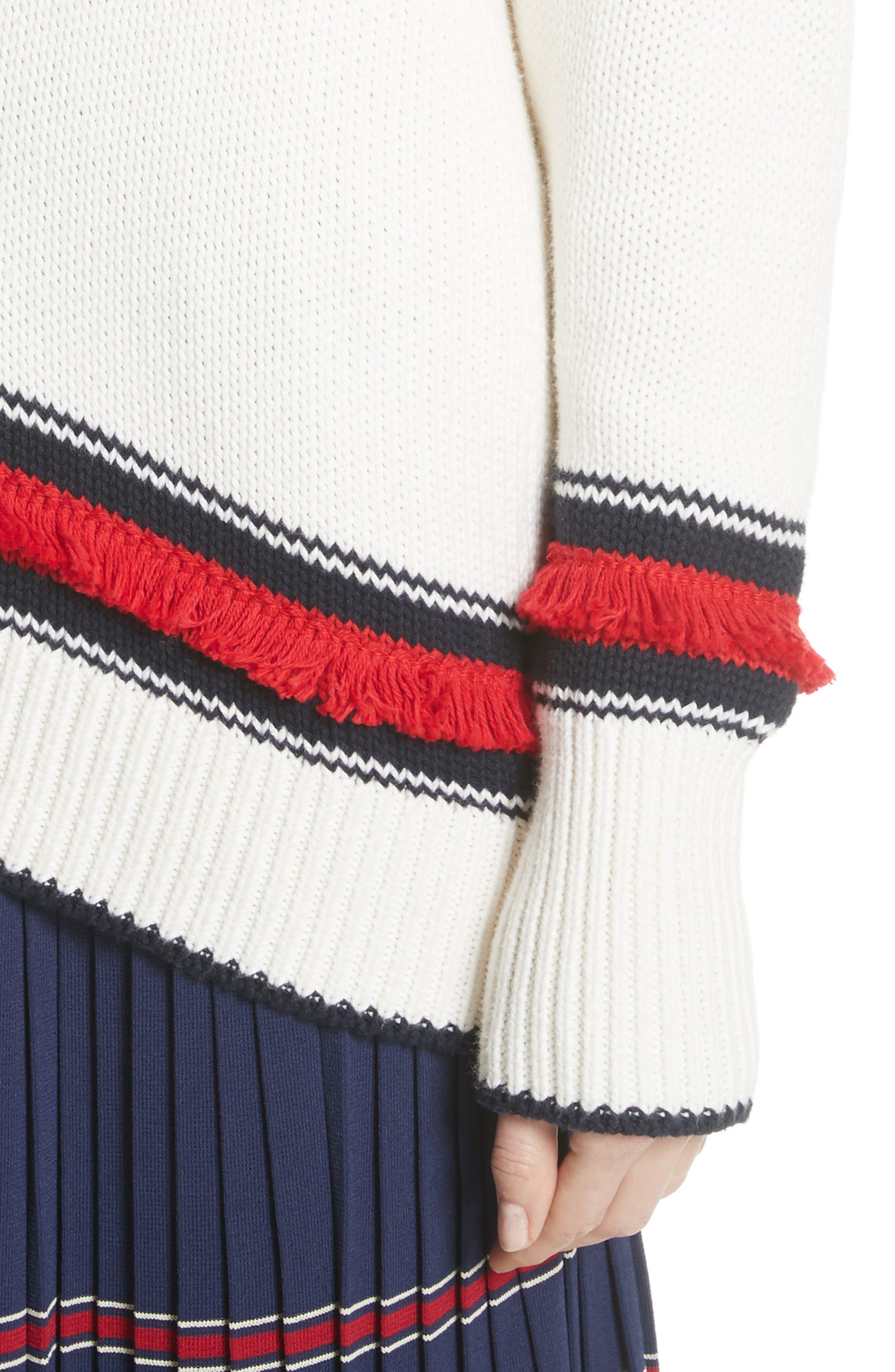 V-Neck Cotton & Cashmere Sweater,                             Alternate thumbnail 4, color,                             Ecru