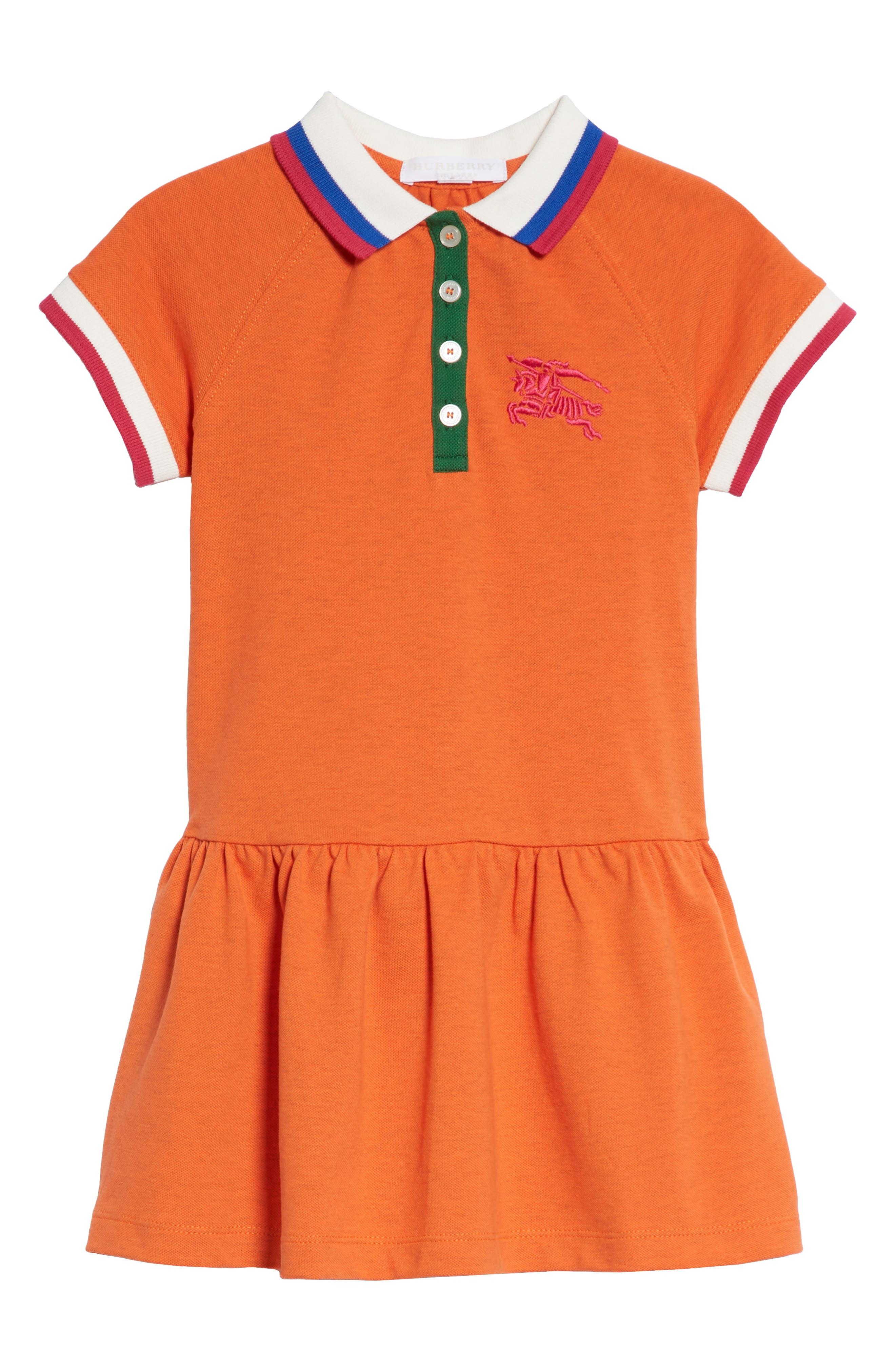 Burbery Cali Polo Dress,                             Main thumbnail 1, color,                             Brt Clementine Mel