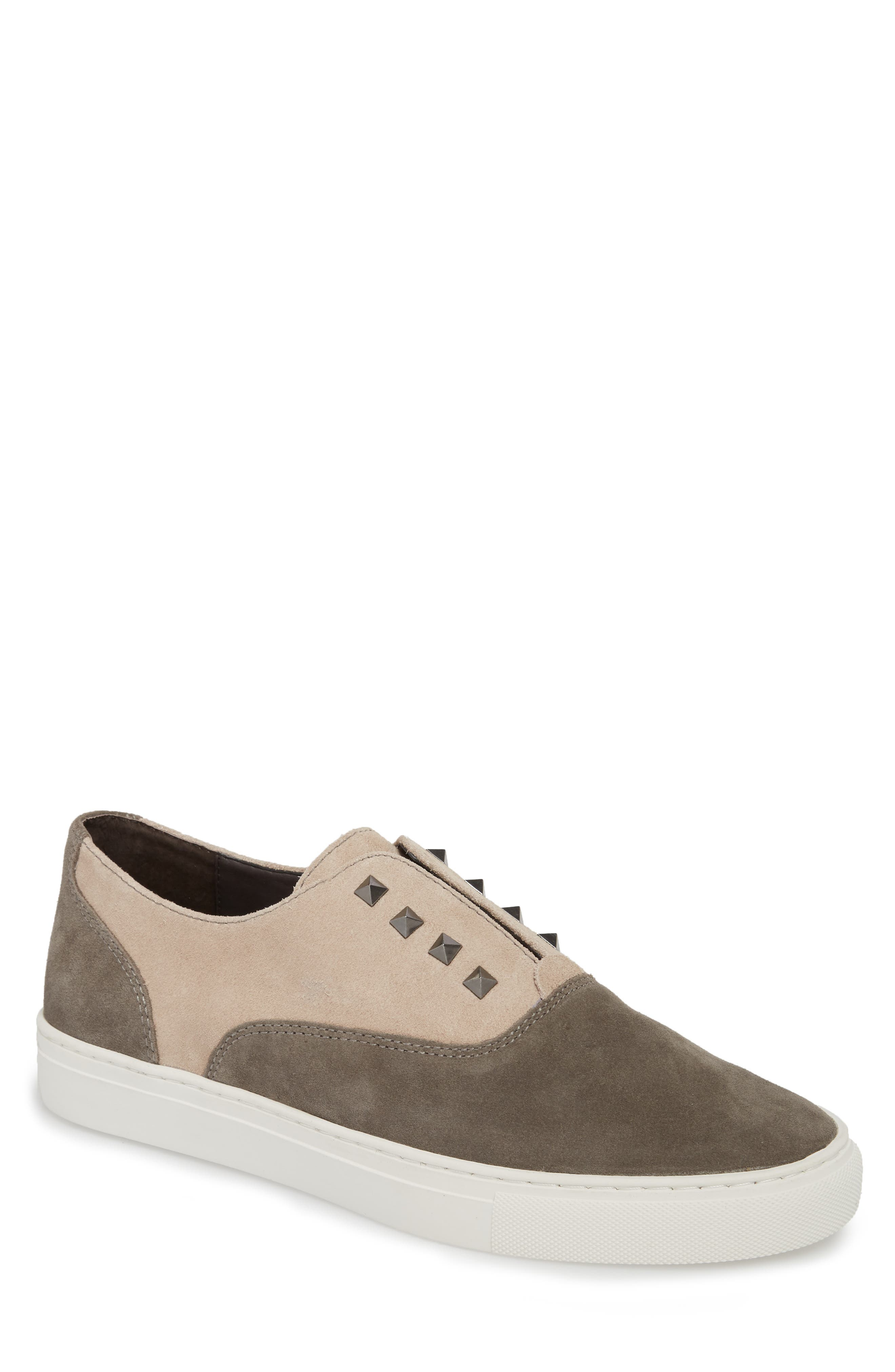 Aryo Studded Laceless Sneaker,                             Main thumbnail 1, color,                             Chocolate/ Sand Suede