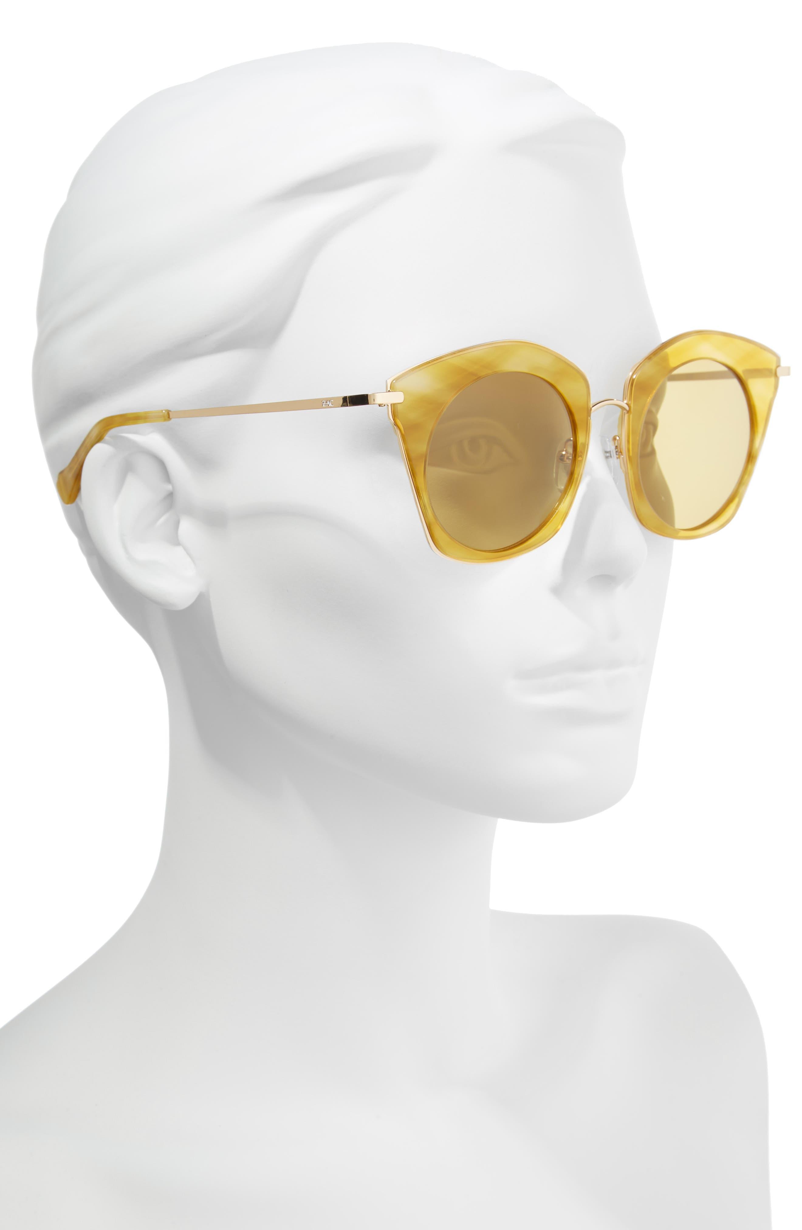Benita 52mm Polarized Sunglasses,                             Alternate thumbnail 2, color,                             Gold Polar