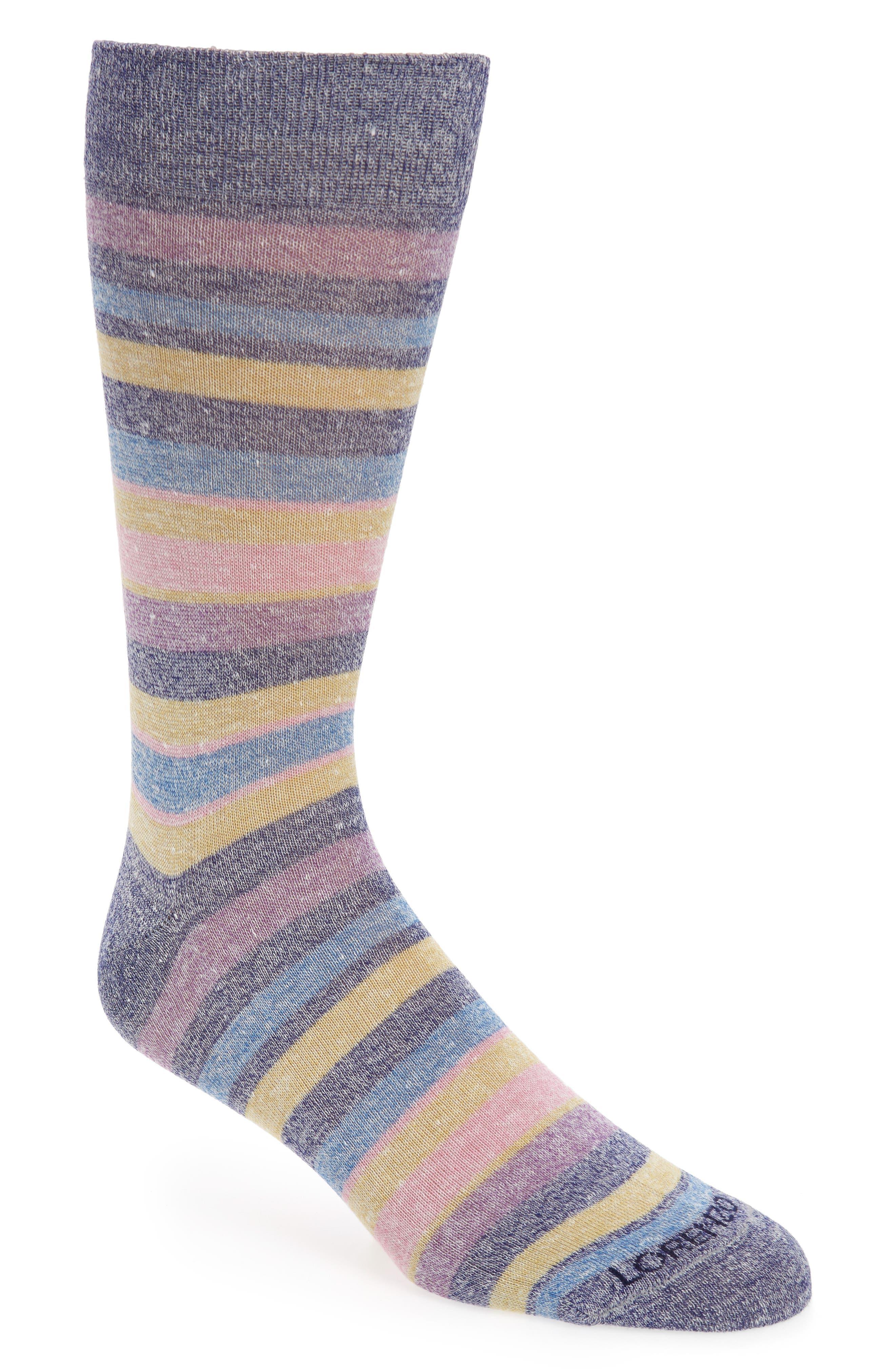 Lorenzo Uomo Stripe Linen Blend Socks (3 for $30)