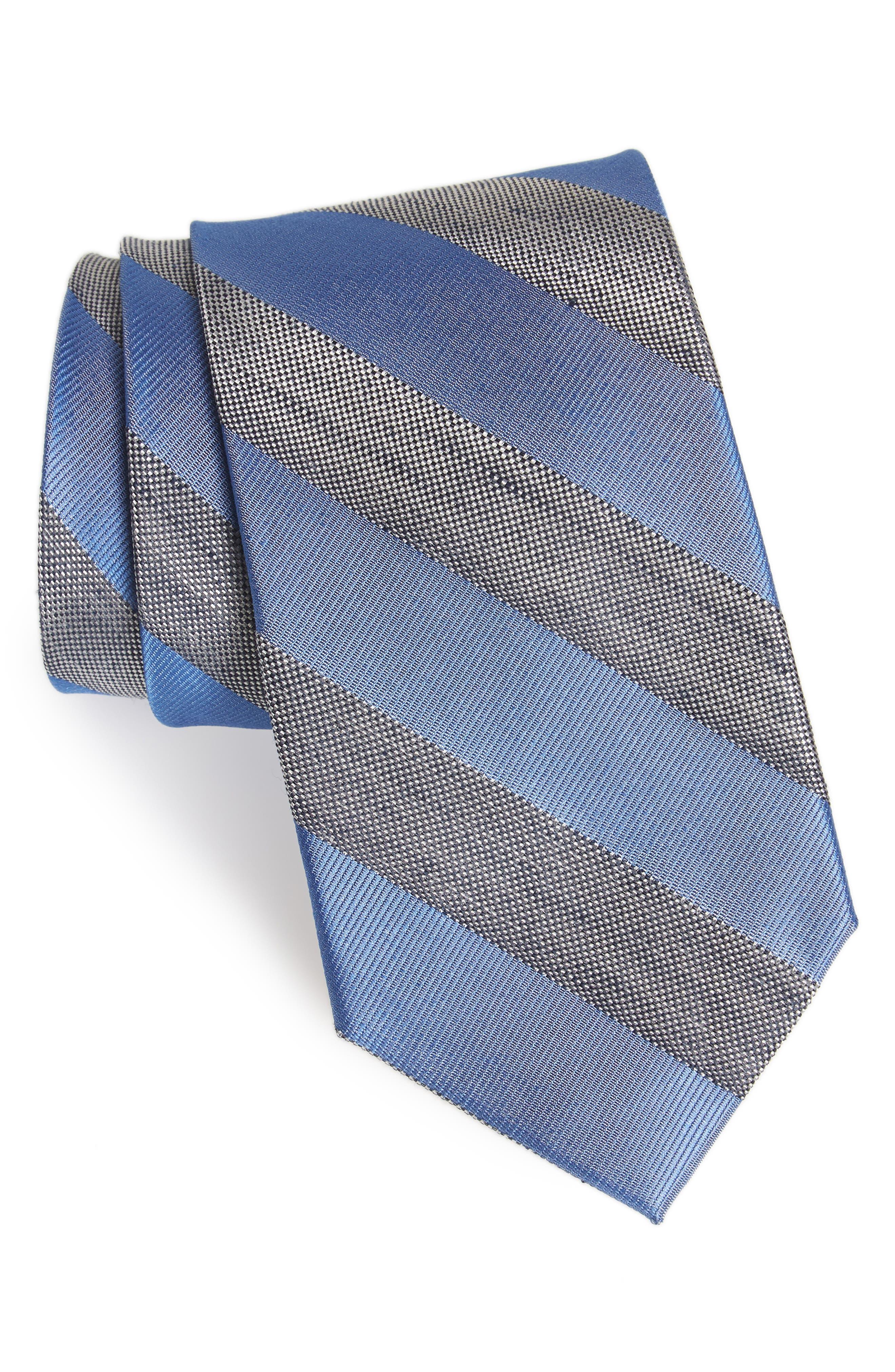 Bomer Stripe Silk & Linen Tie,                             Main thumbnail 1, color,                             Blue