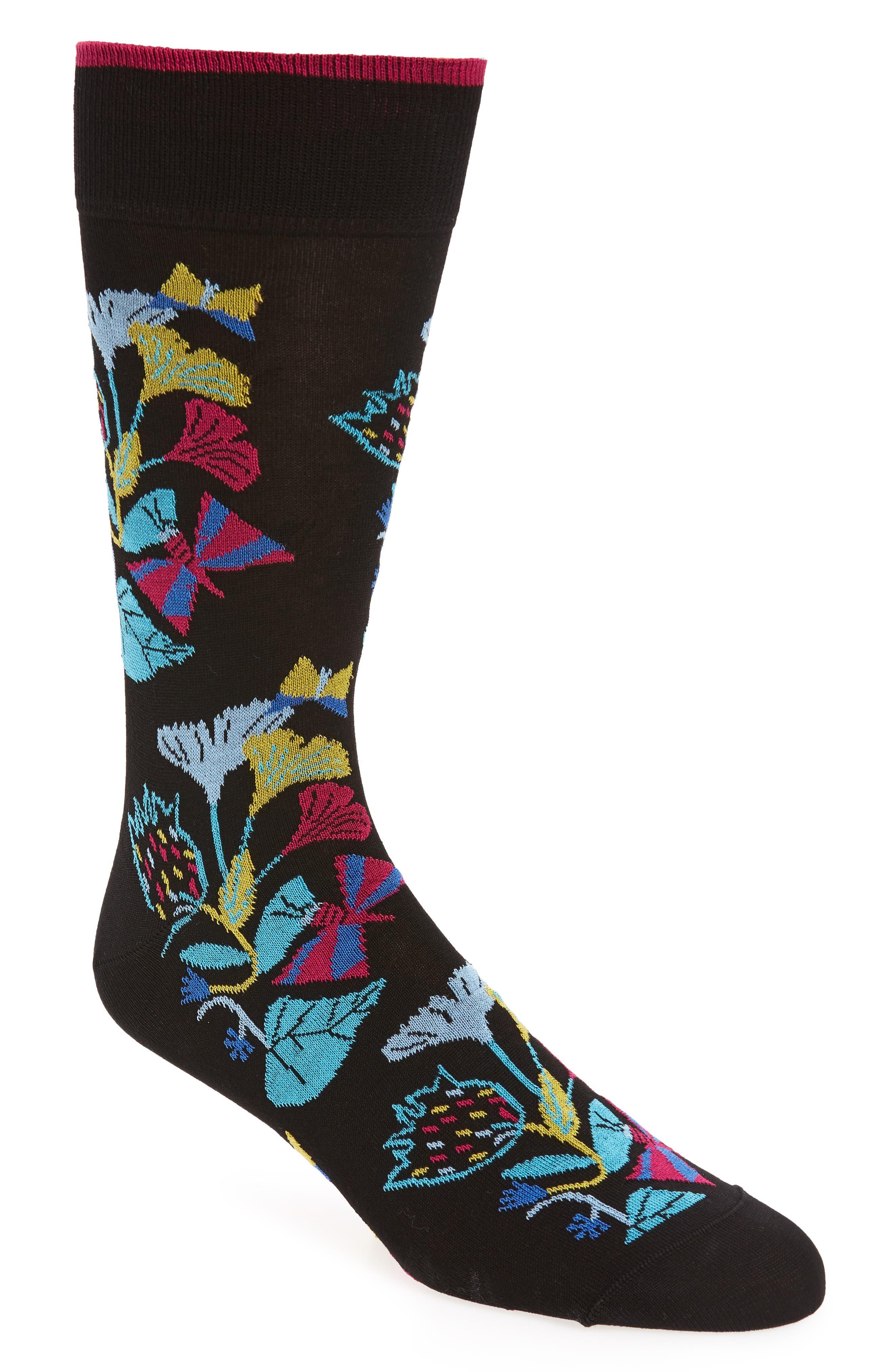 Cotton Blend Socks,                             Main thumbnail 1, color,                             Black