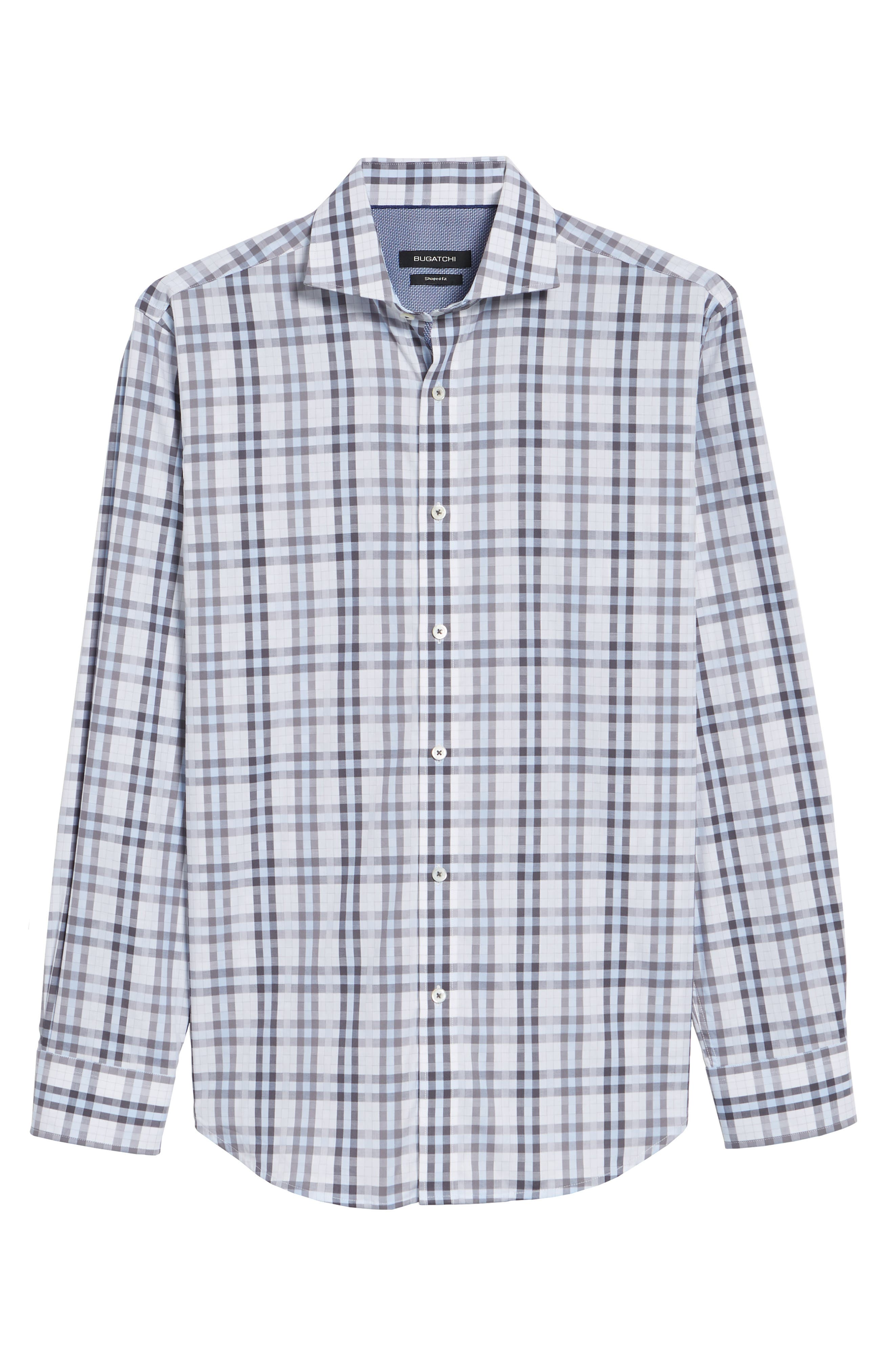 Shaped Fit Check Sport Shirt,                             Alternate thumbnail 6, color,                             Sky