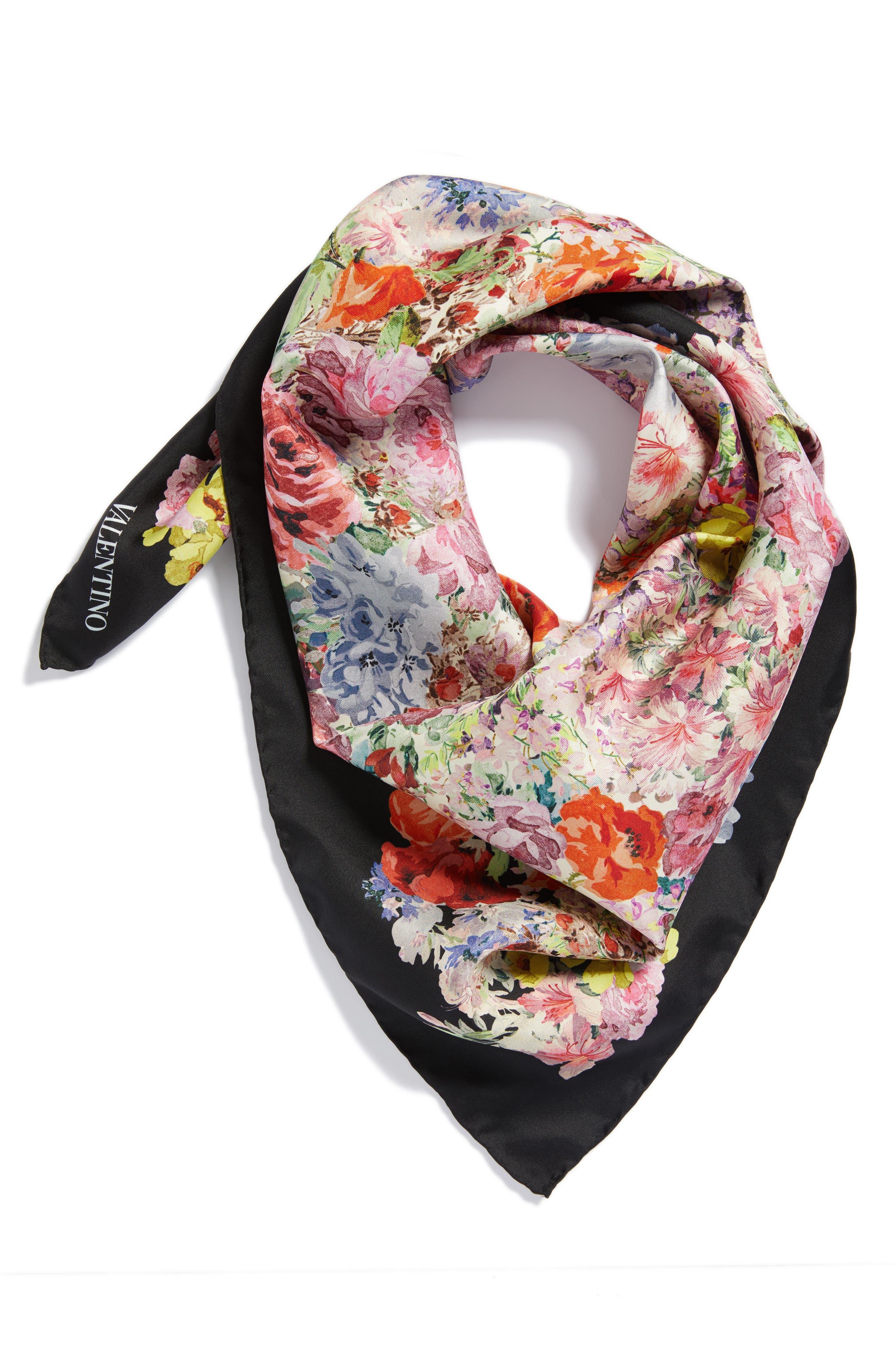 Jardin des Fleurs Square Silk Scarf,                             Alternate thumbnail 3, color,                             Fiori Multicolor/ Nero
