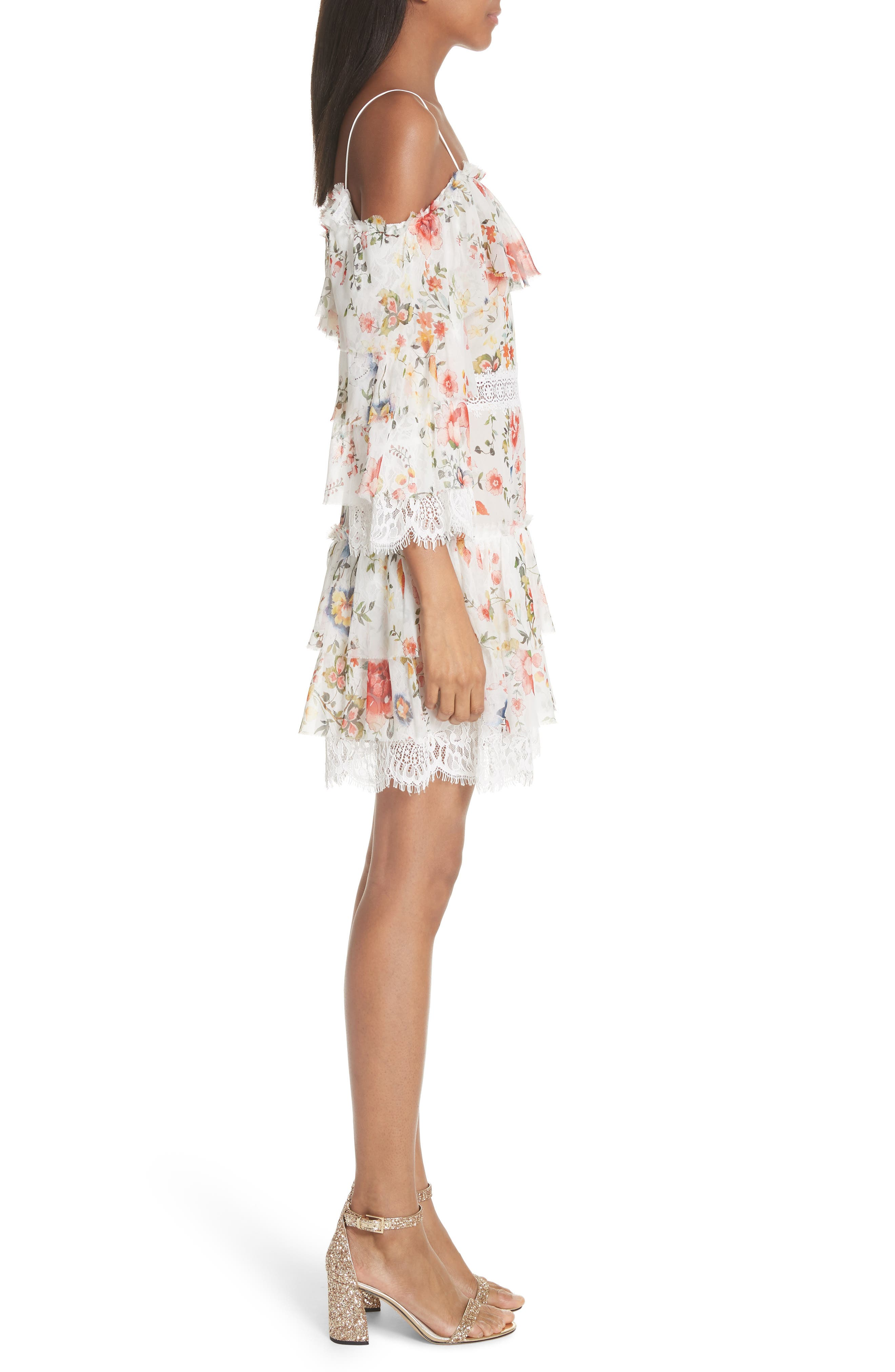 Santos Cold Shoulder Floral Silk Dress,                             Alternate thumbnail 3, color,                             Floral Soiree