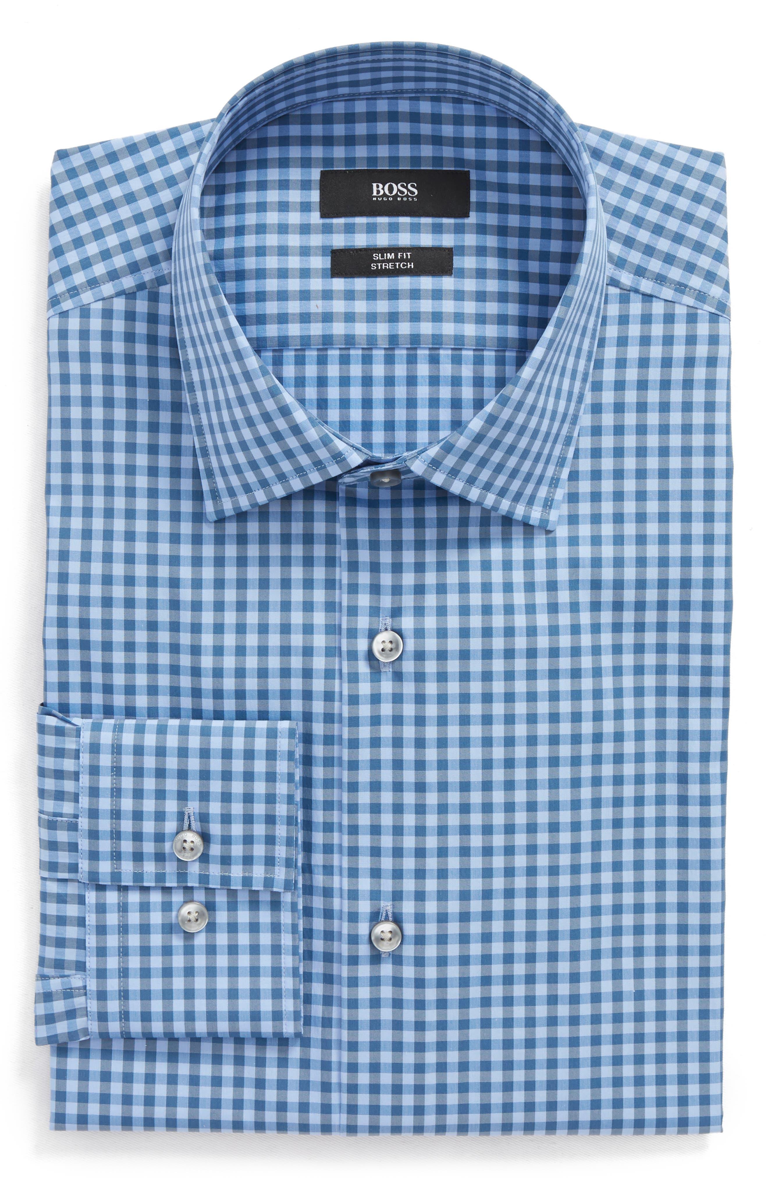 Jenno Slim Fit Check Stretch Dress Shirt,                             Main thumbnail 1, color,                             Blue