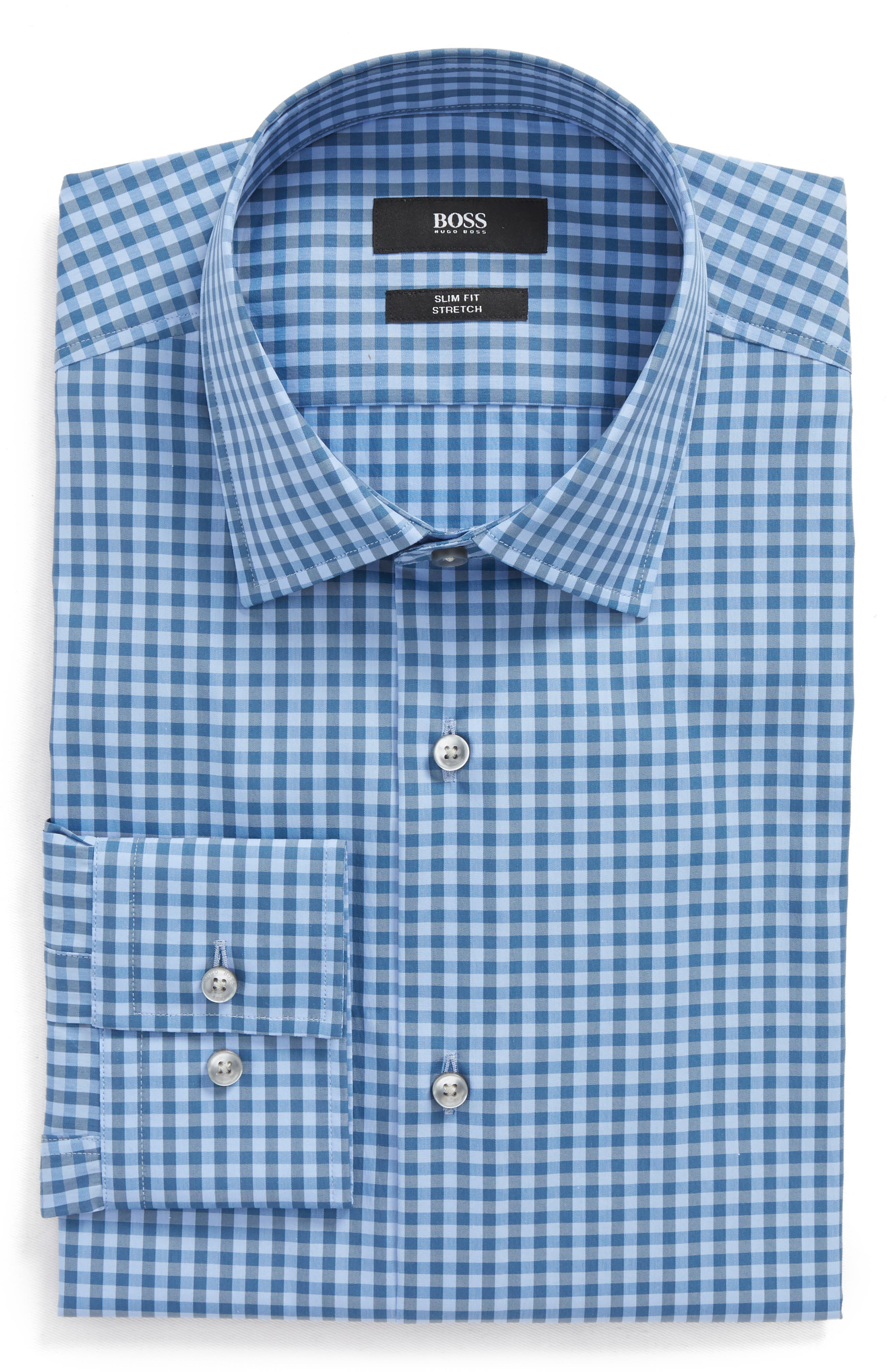 BOSS Jenno Slim Fit Check Stretch Dress Shirt