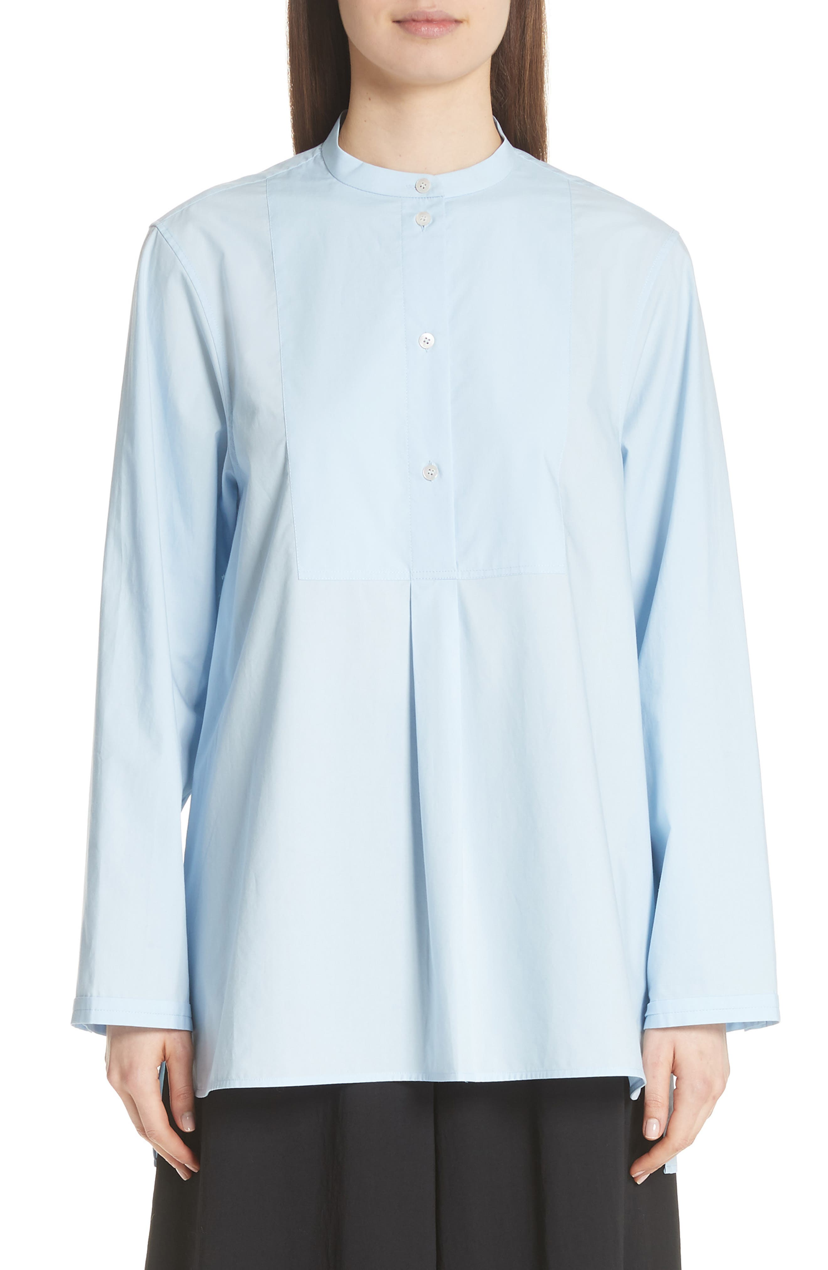 Lysanne Poplin Shirt,                         Main,                         color, Sky Blue