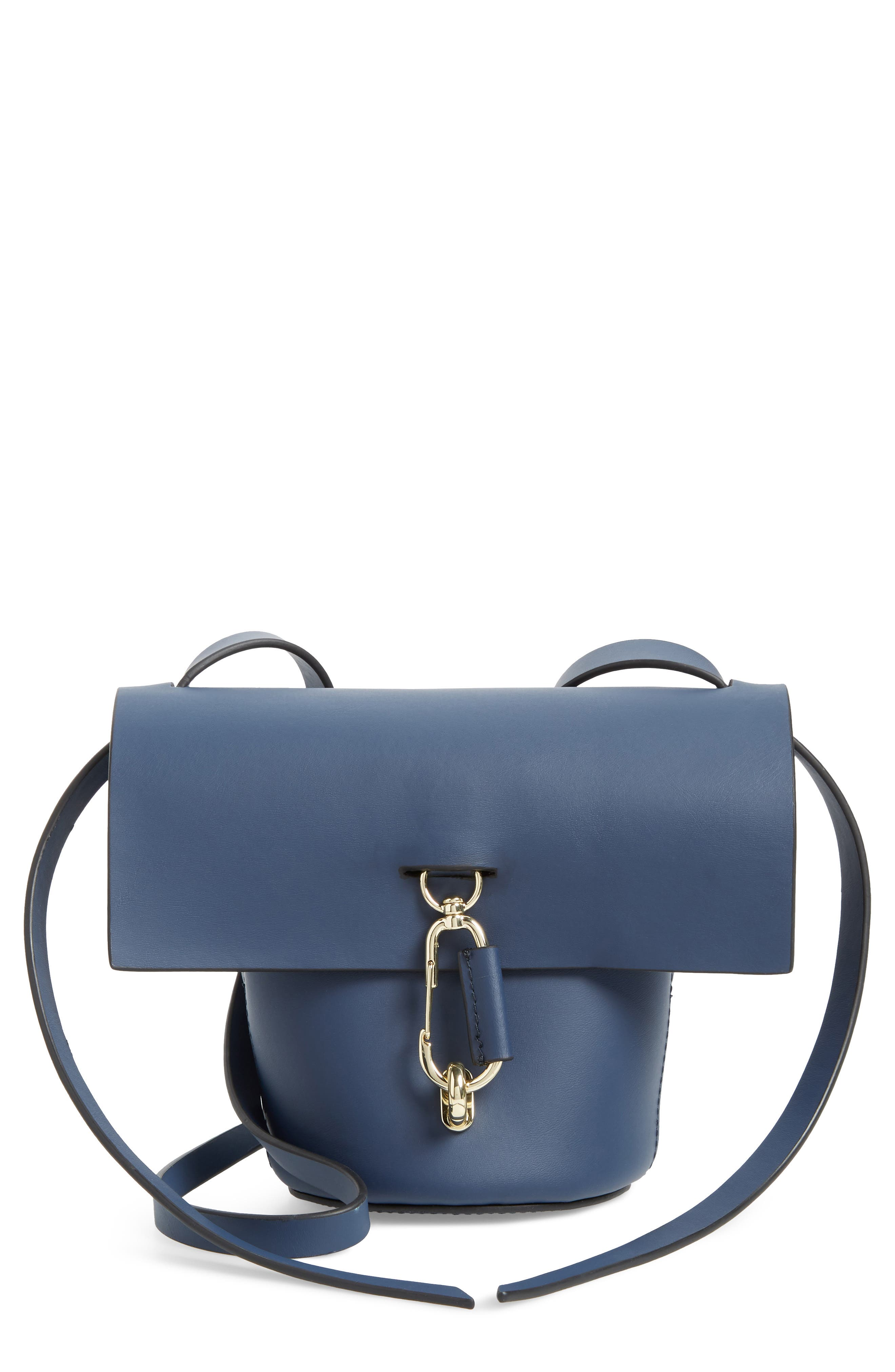 Mini Belay Calfskin Suede Crossbody Bucket Bag,                         Main,                         color, Blue
