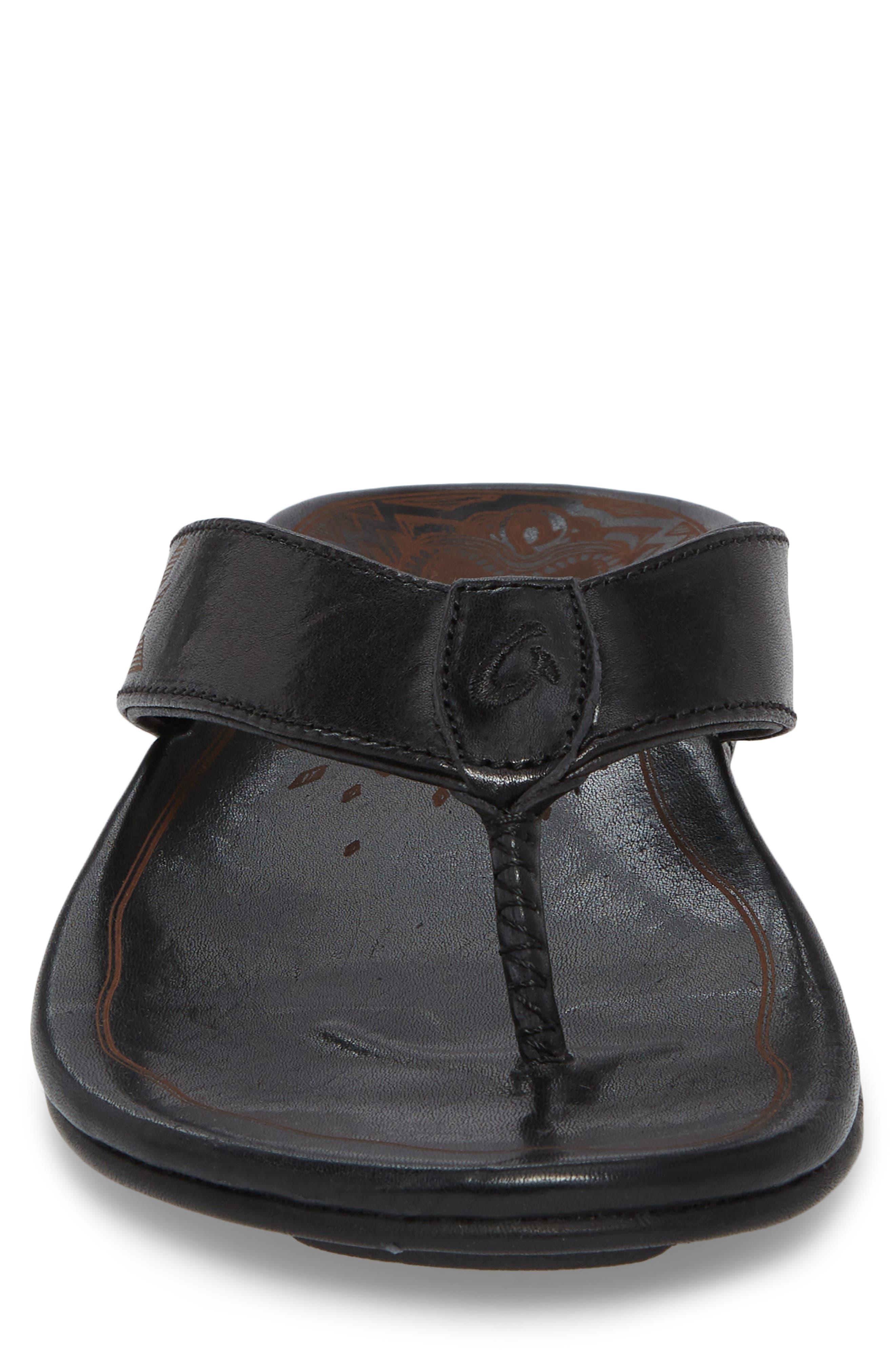 Kulia Flip Flop,                             Alternate thumbnail 4, color,                             Black/ Black Leather