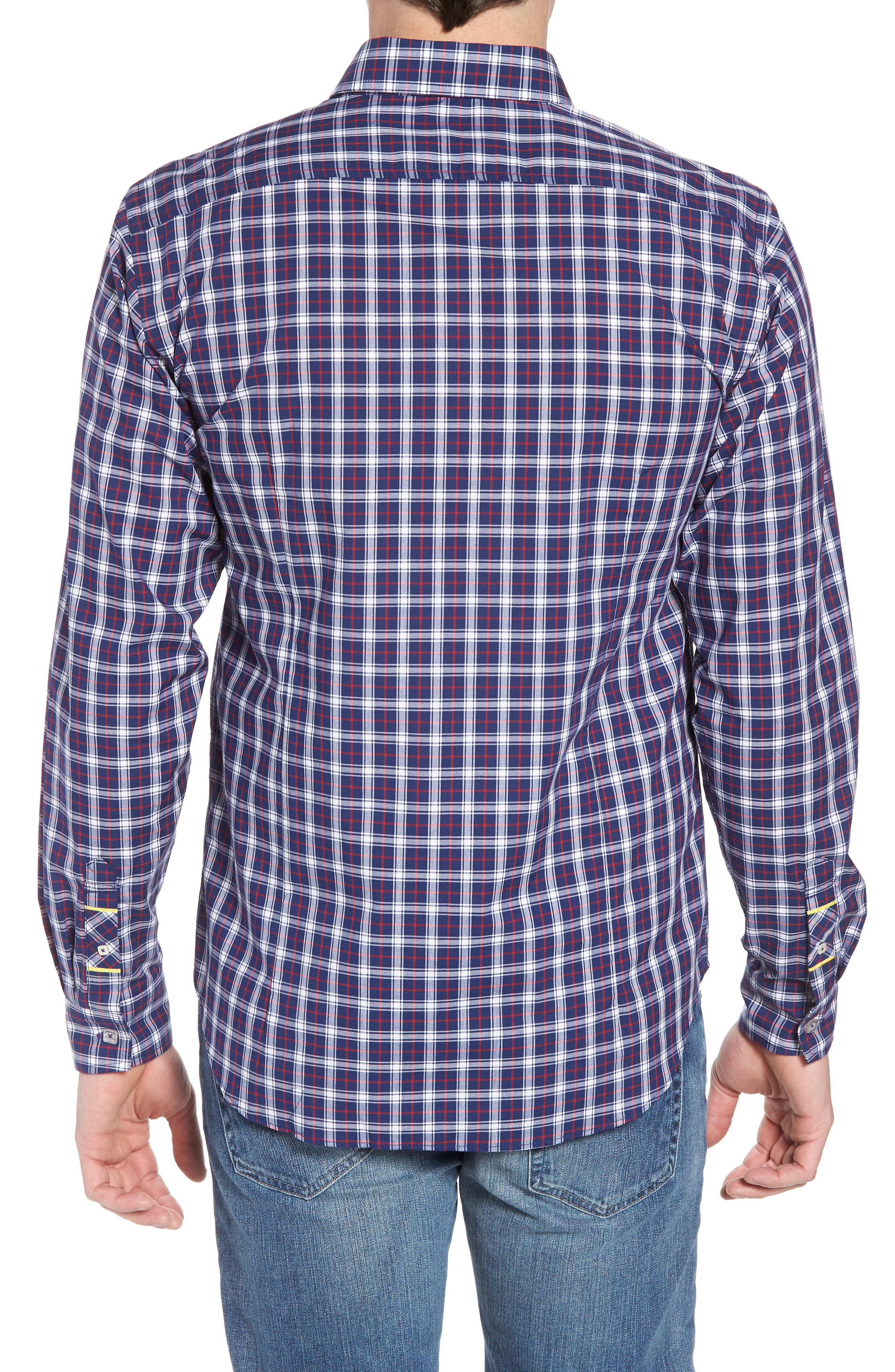 Slim Fit Check Sport Shirt,                             Alternate thumbnail 2, color,                             Navy