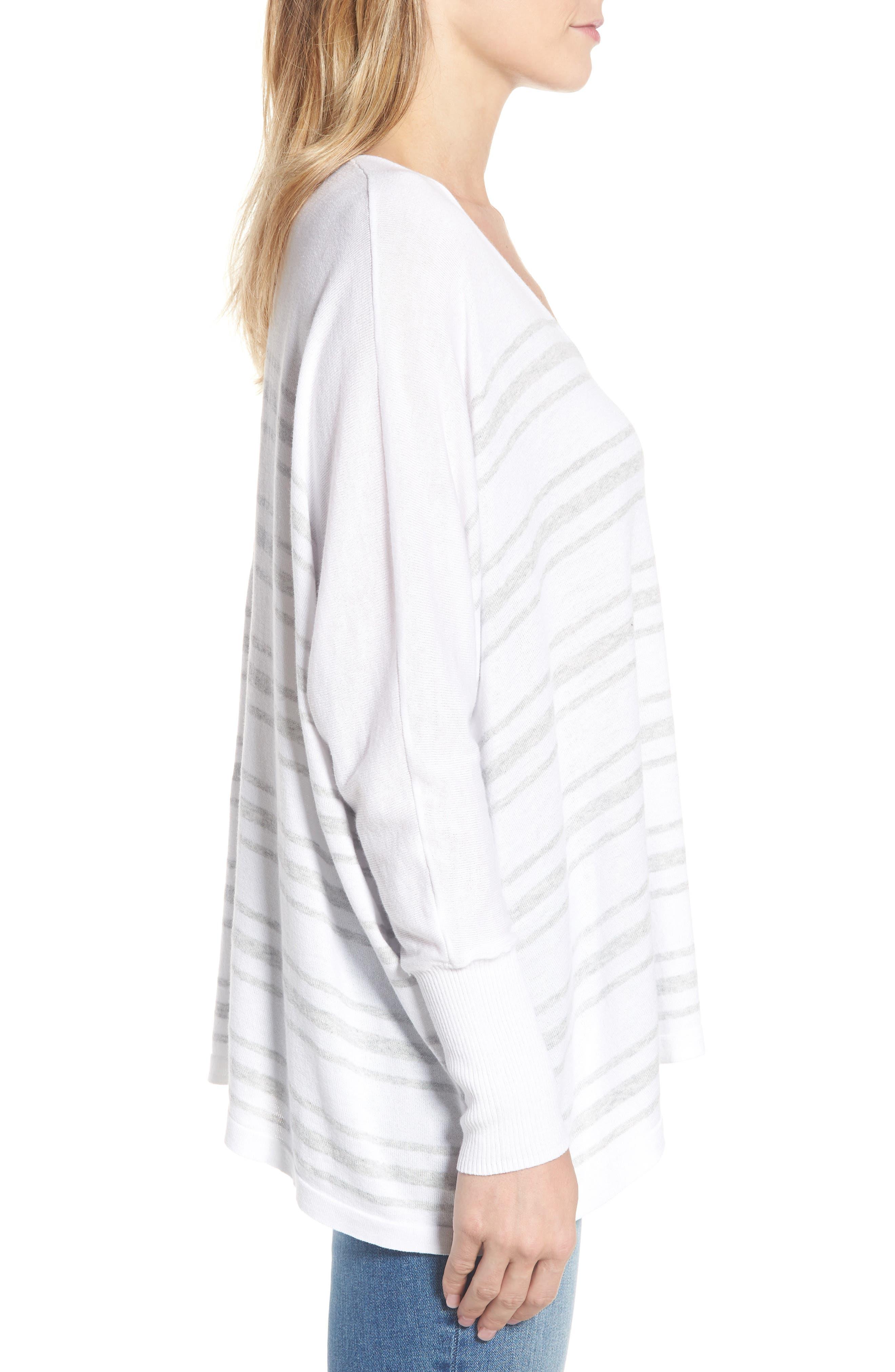 Oversize Sleeve Stripe V-Neck Sweater,                             Alternate thumbnail 3, color,                             Warm White Pebble Grey Mix