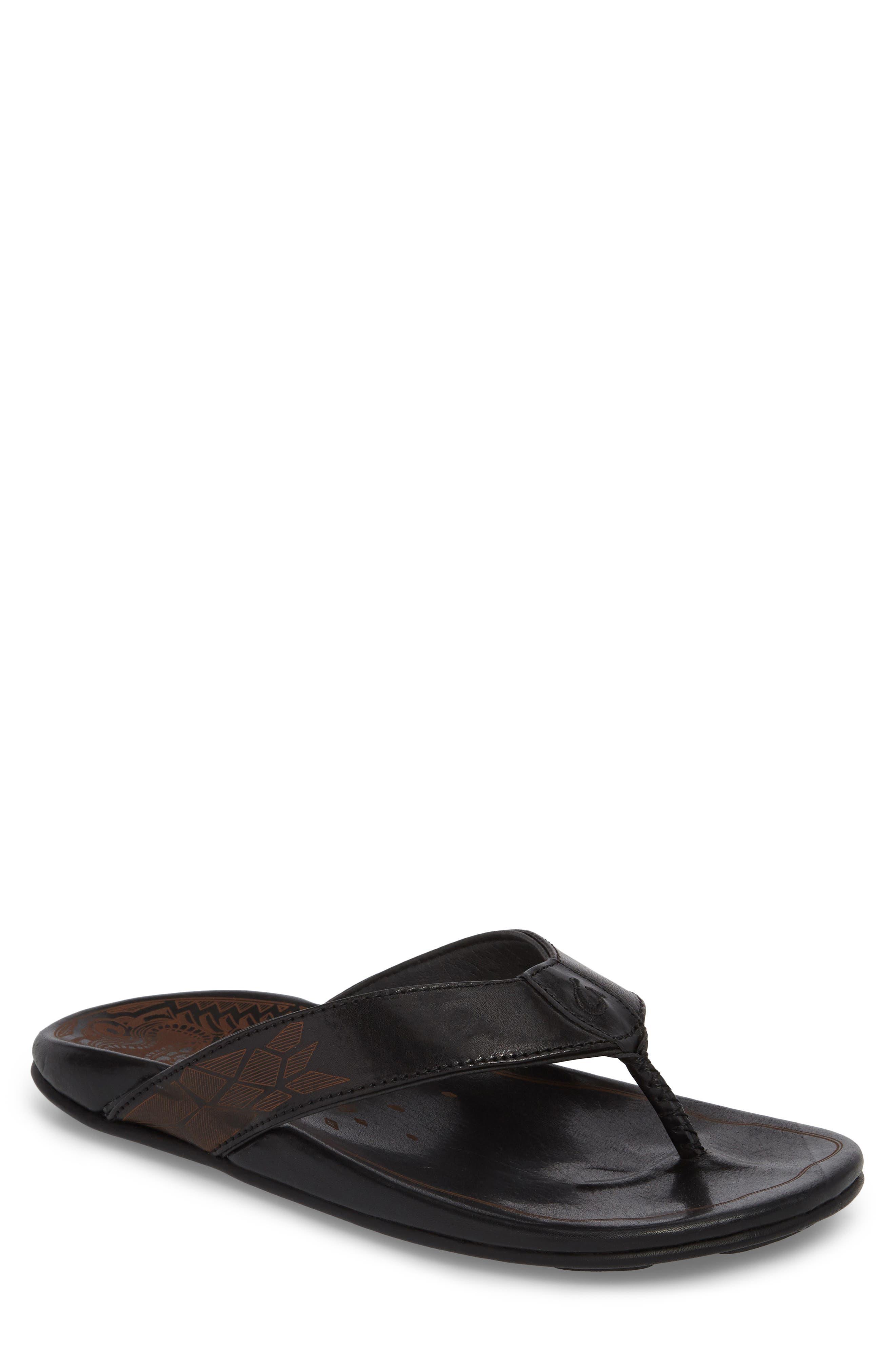 Kulia Flip Flop,                         Main,                         color, Black/ Black Leather