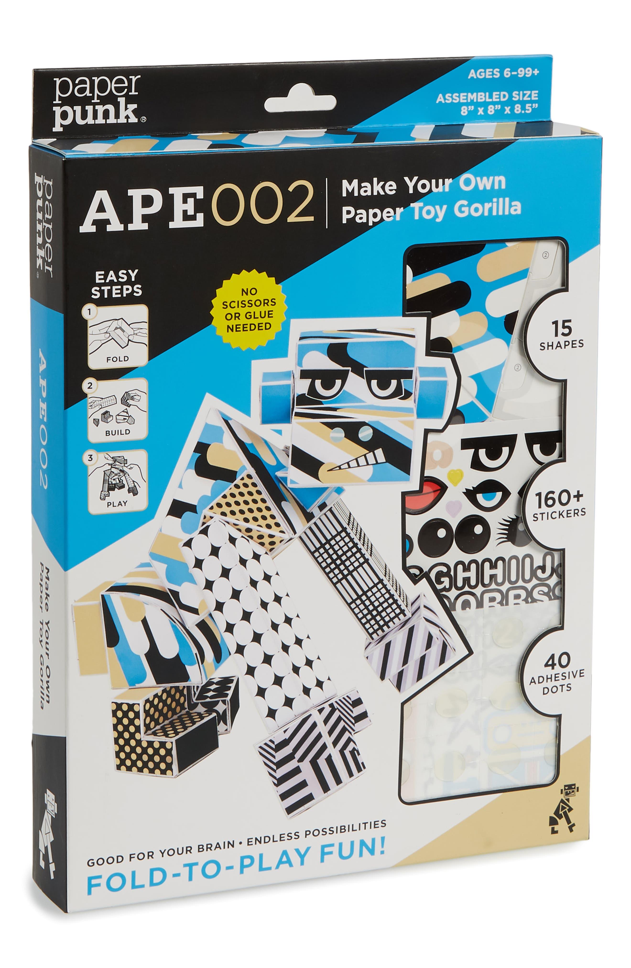 Ape002 Make Your Own Paper Toy Gorilla Kit,                             Main thumbnail 1, color,                             Multi