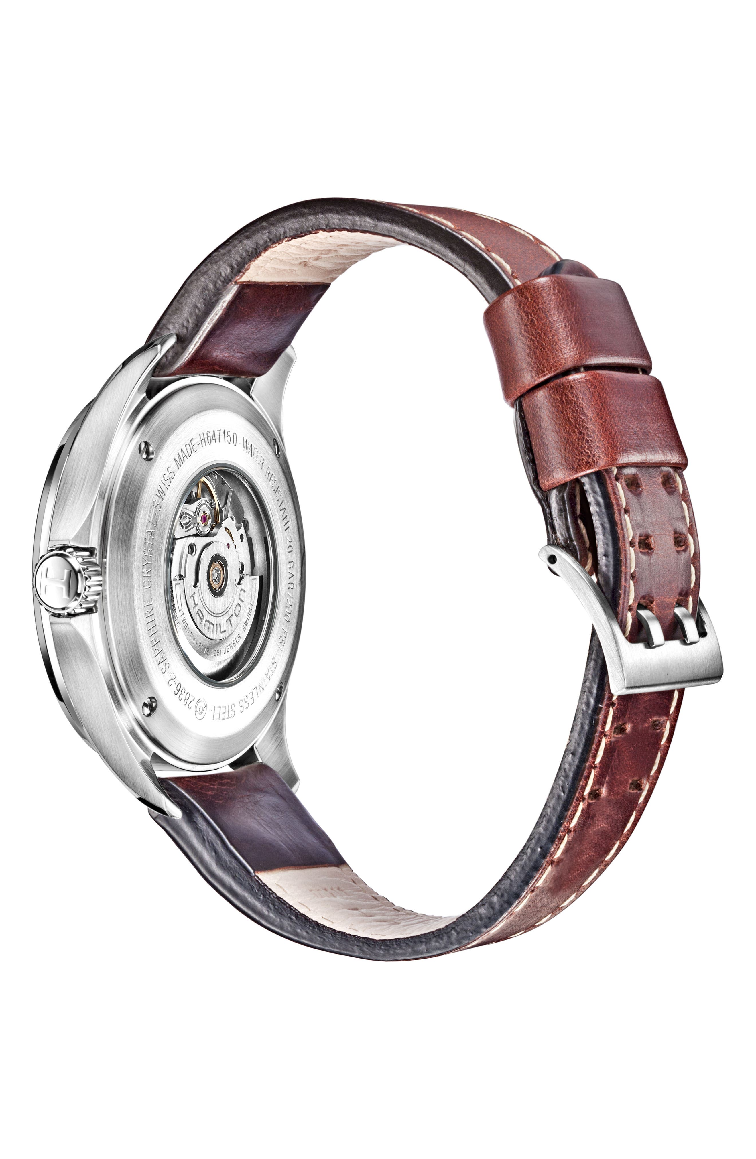 Khaki Aviation Automatic Leather Strap Watch, 46mm,                             Alternate thumbnail 2, color,                             Brown/ Black/ Silver