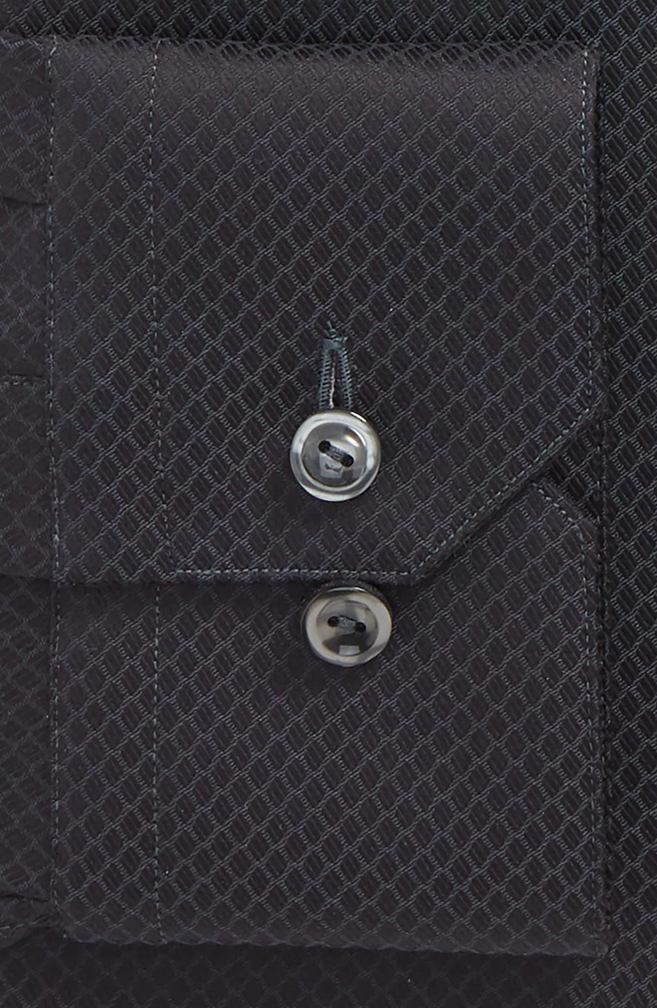 Slim Fit Solid Dress Shirt,                             Alternate thumbnail 5, color,                             Black