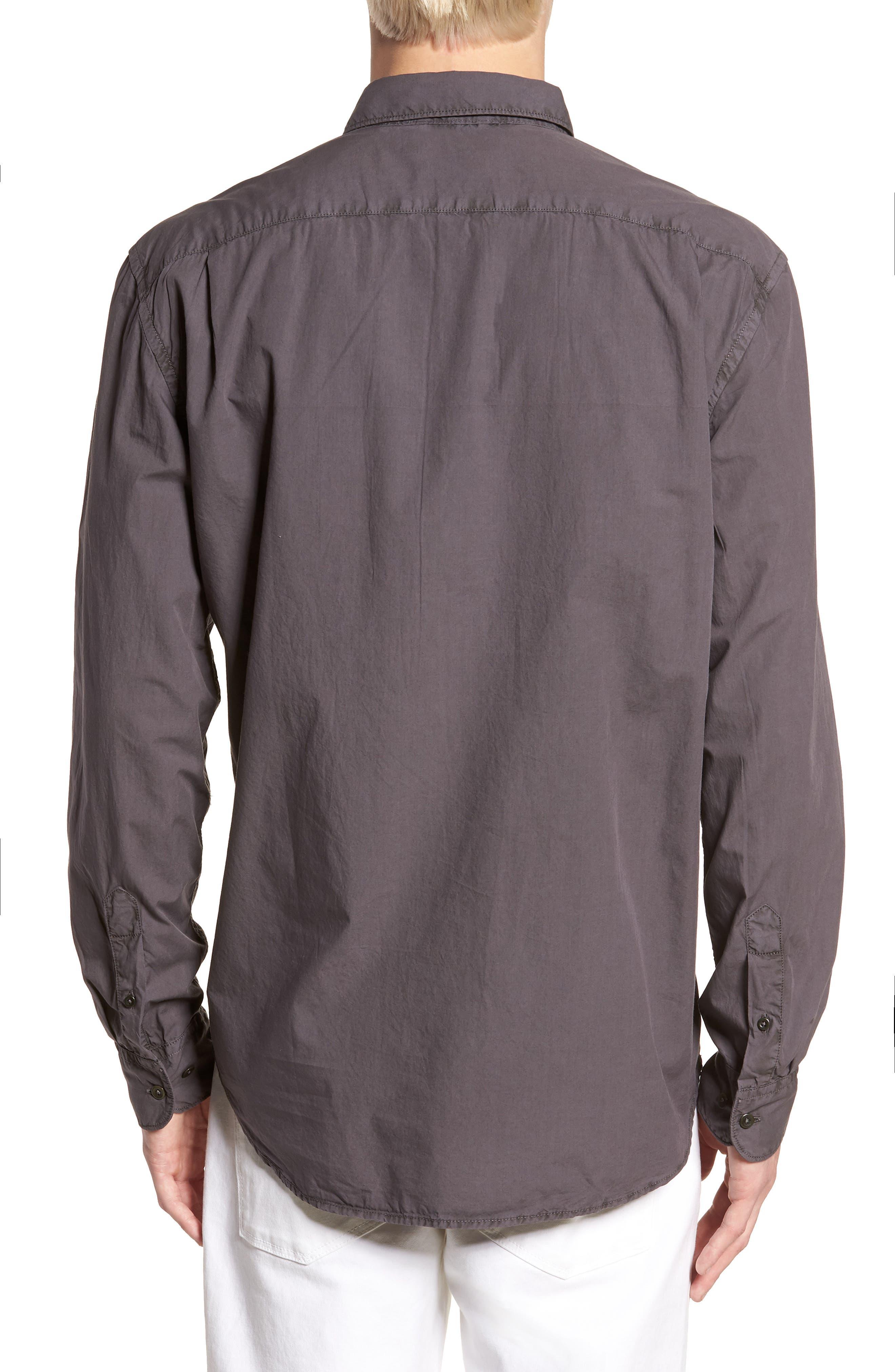 Regular Fit Garment Dyed Poplin Sport Shirt,                             Alternate thumbnail 2, color,                             Workwear Grey