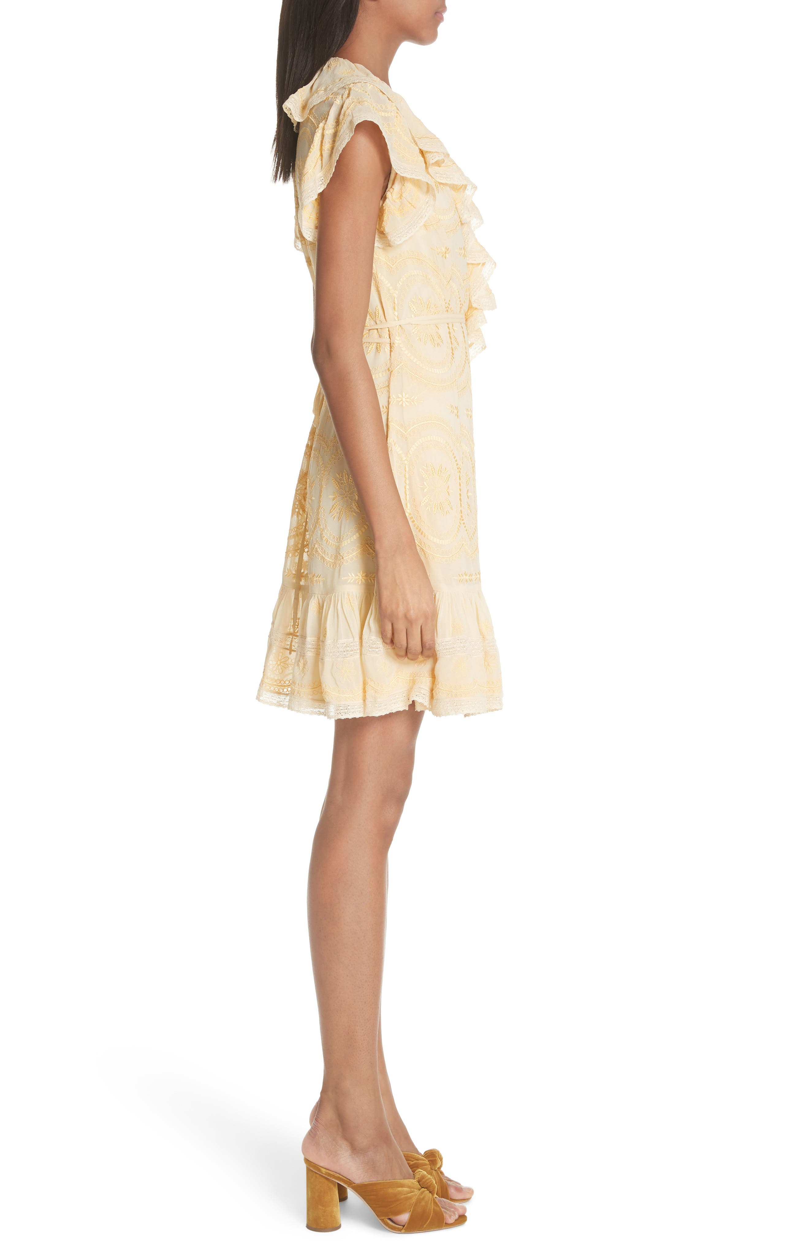 Anglaise Georgette Wrap Dress,                             Alternate thumbnail 3, color,                             Yellow